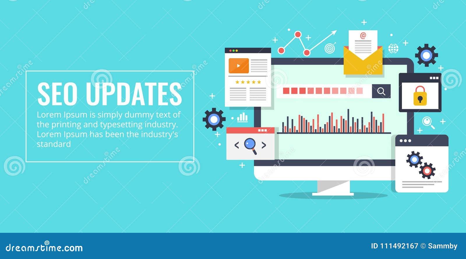 Actualizaciones de Seo, optimización del Search Engine, márketing, concepto del analytics Bandera plana del vector del diseño