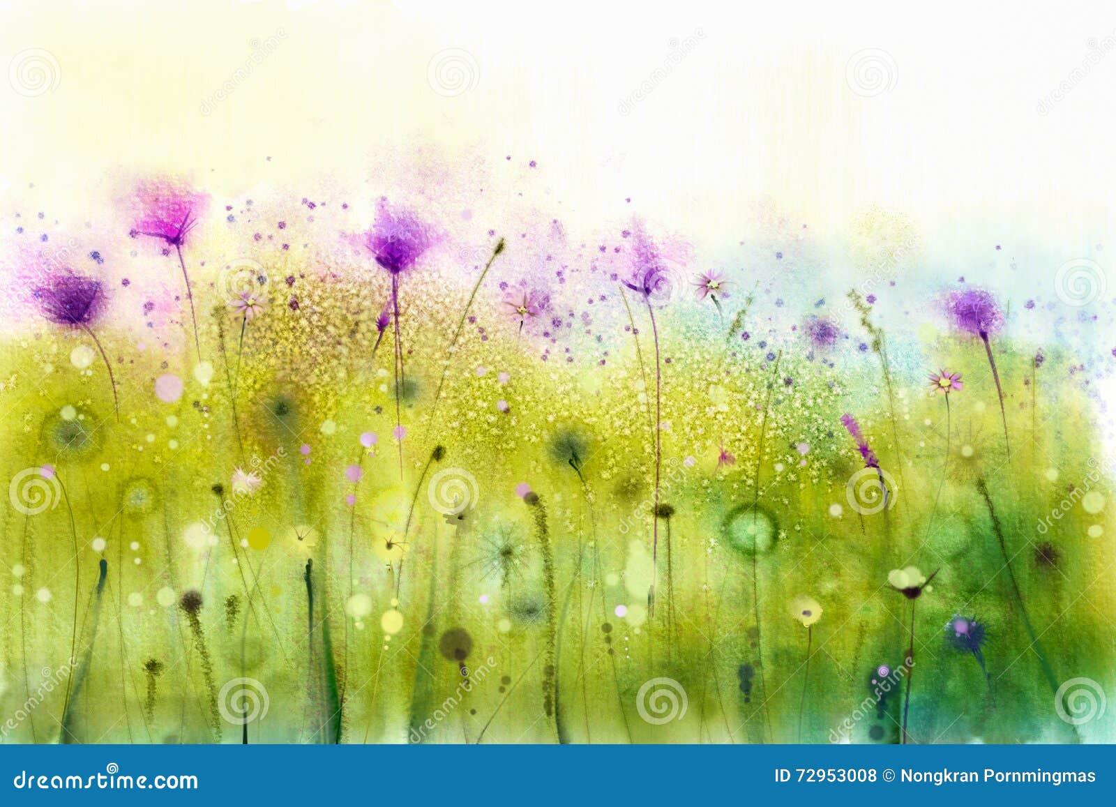 Acuarela abstracta que pinta las flores púrpuras del cosmos y el wildflower blanco