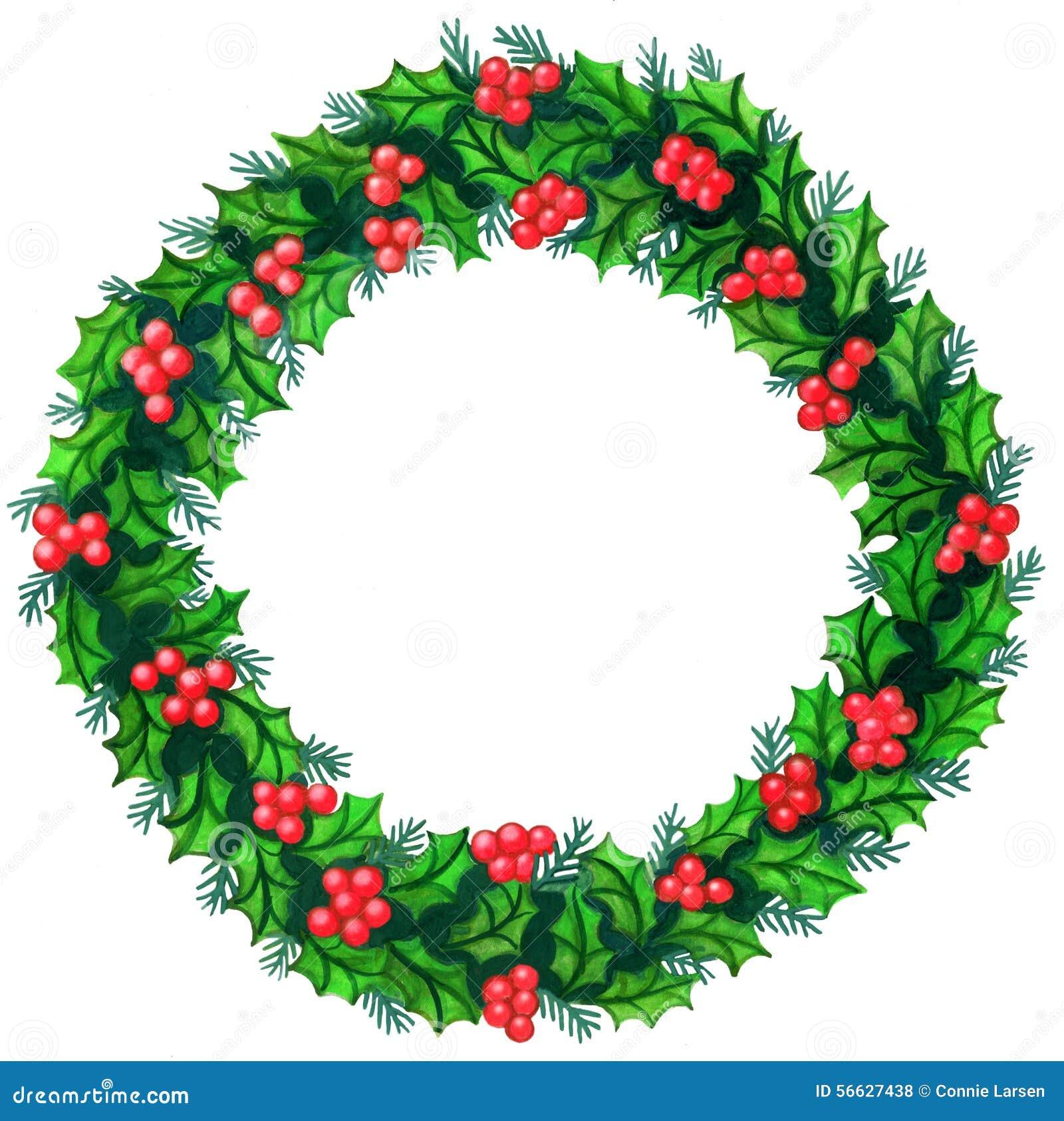 Acuarela de la guirnalda de la Navidad