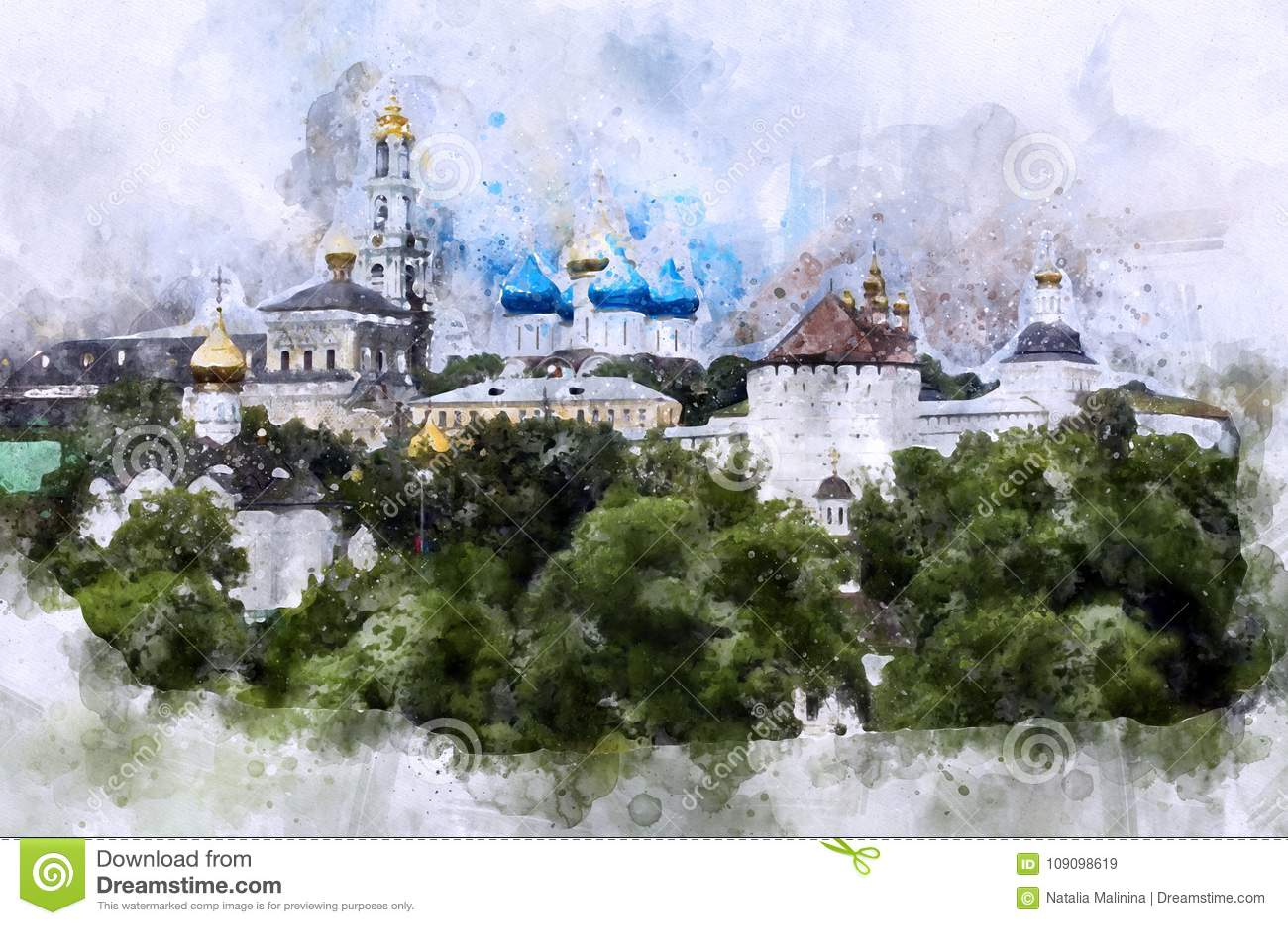 Acuarela del horizonte de Sergiev Posad