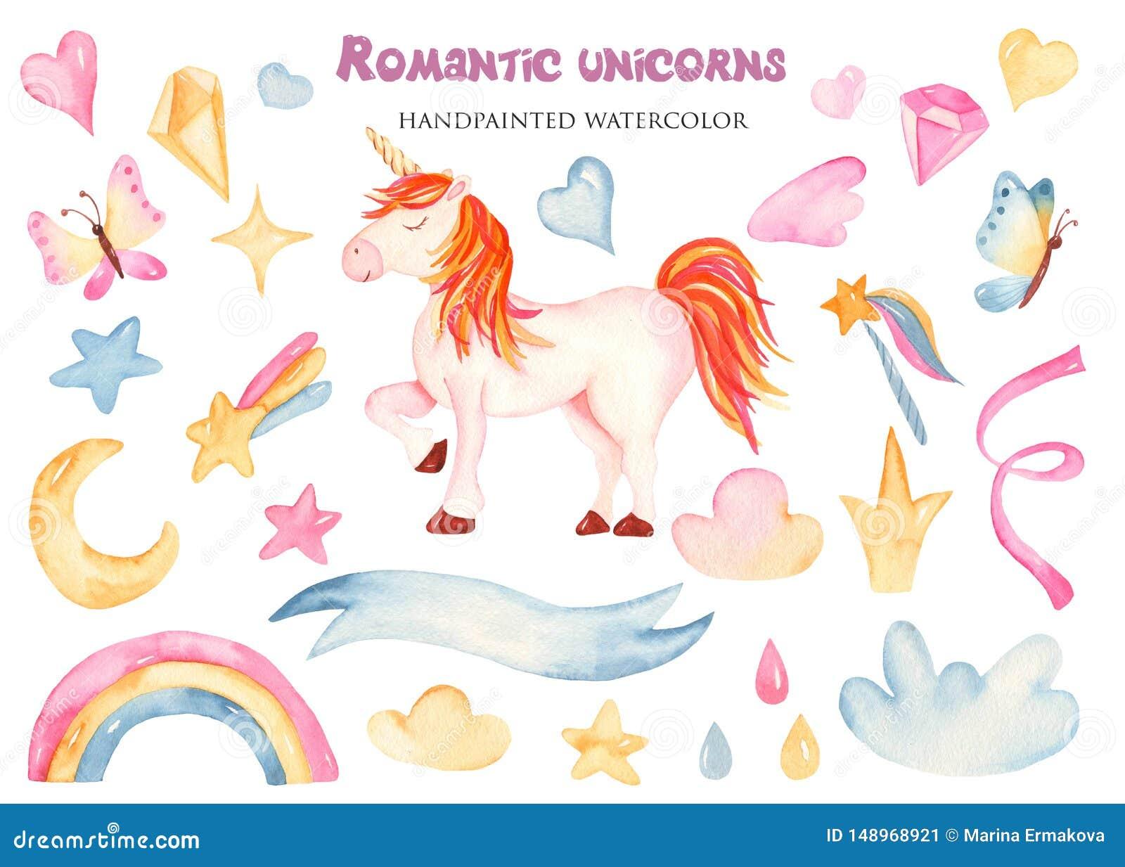 Acuarela Fijada Con Unicornio Lindo Y Las Flores Del Rosa De