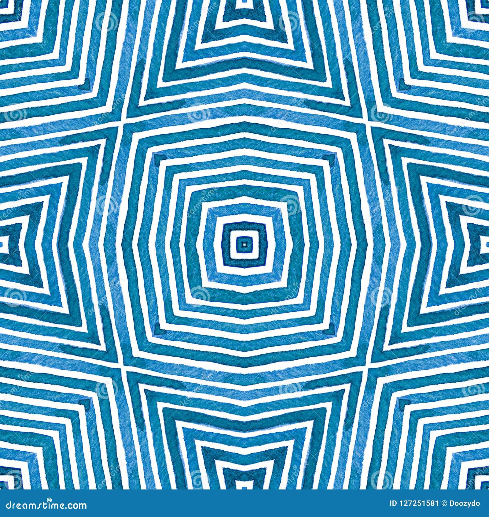 Acuarela geométrica azul Modelo inconsútil lindo Rayas dibujadas mano Textura del cepillo Chevro satisfecho
