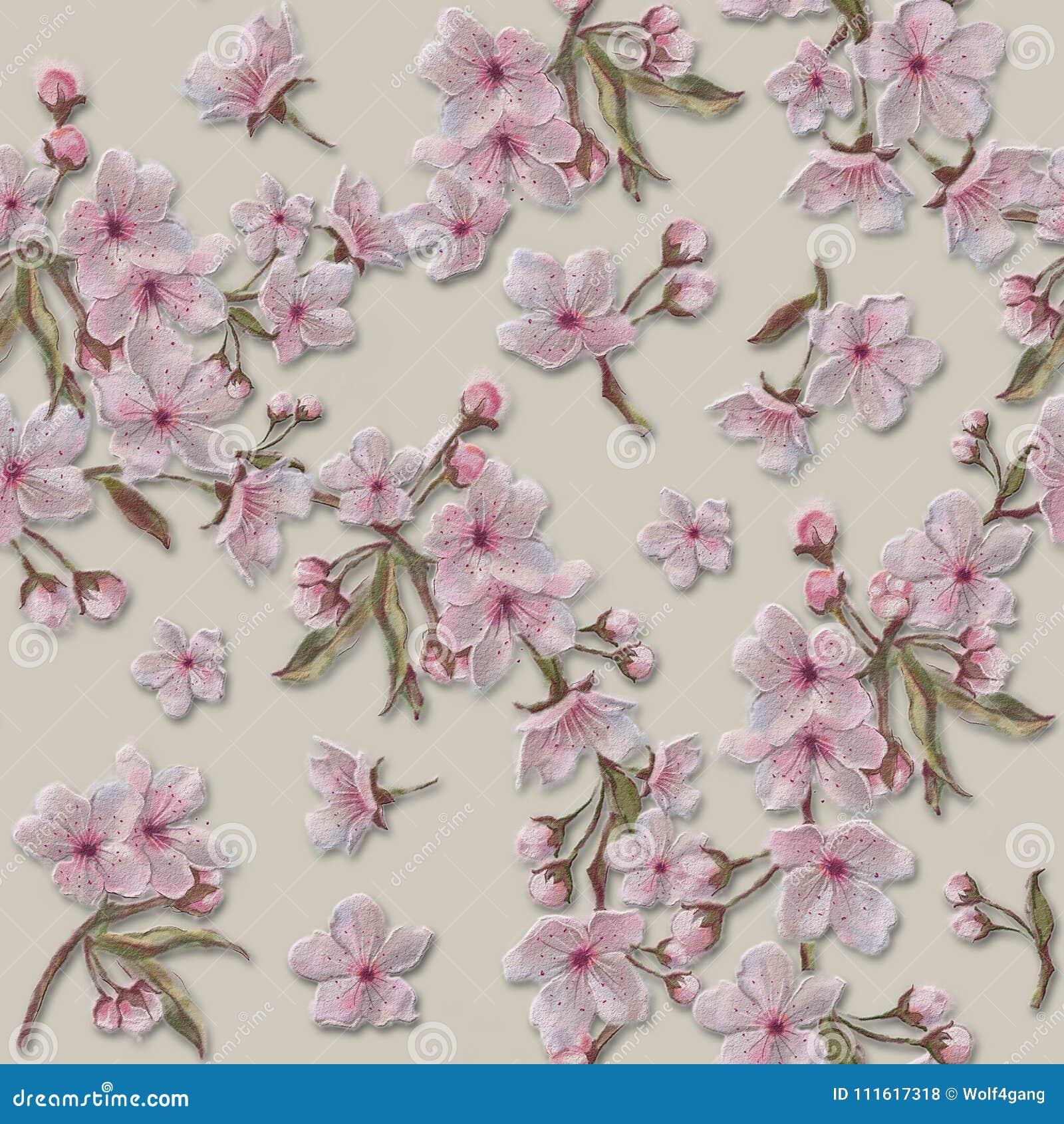 Acuarela Pintada A Mano Sakura Textured Blooms Y Modelo De Las ...