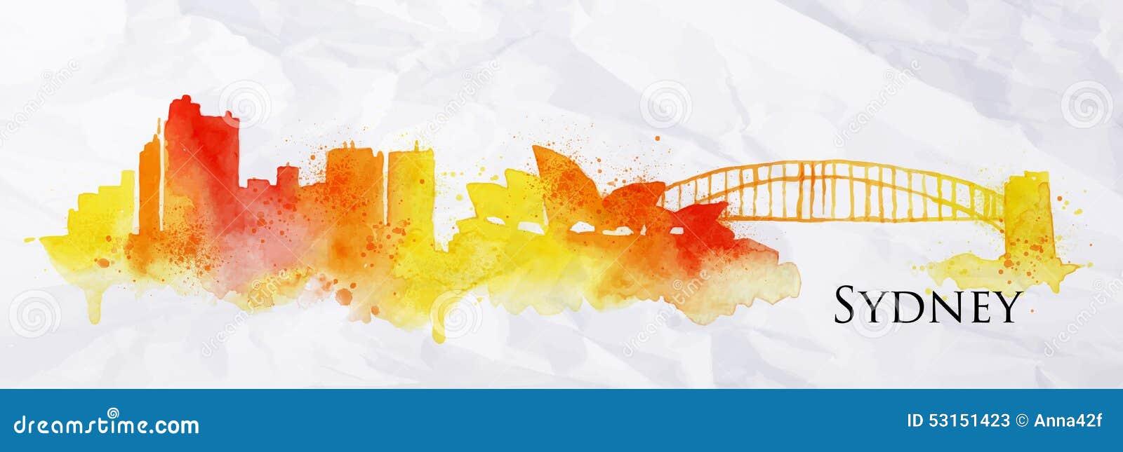 Acuarela Sydney de la silueta