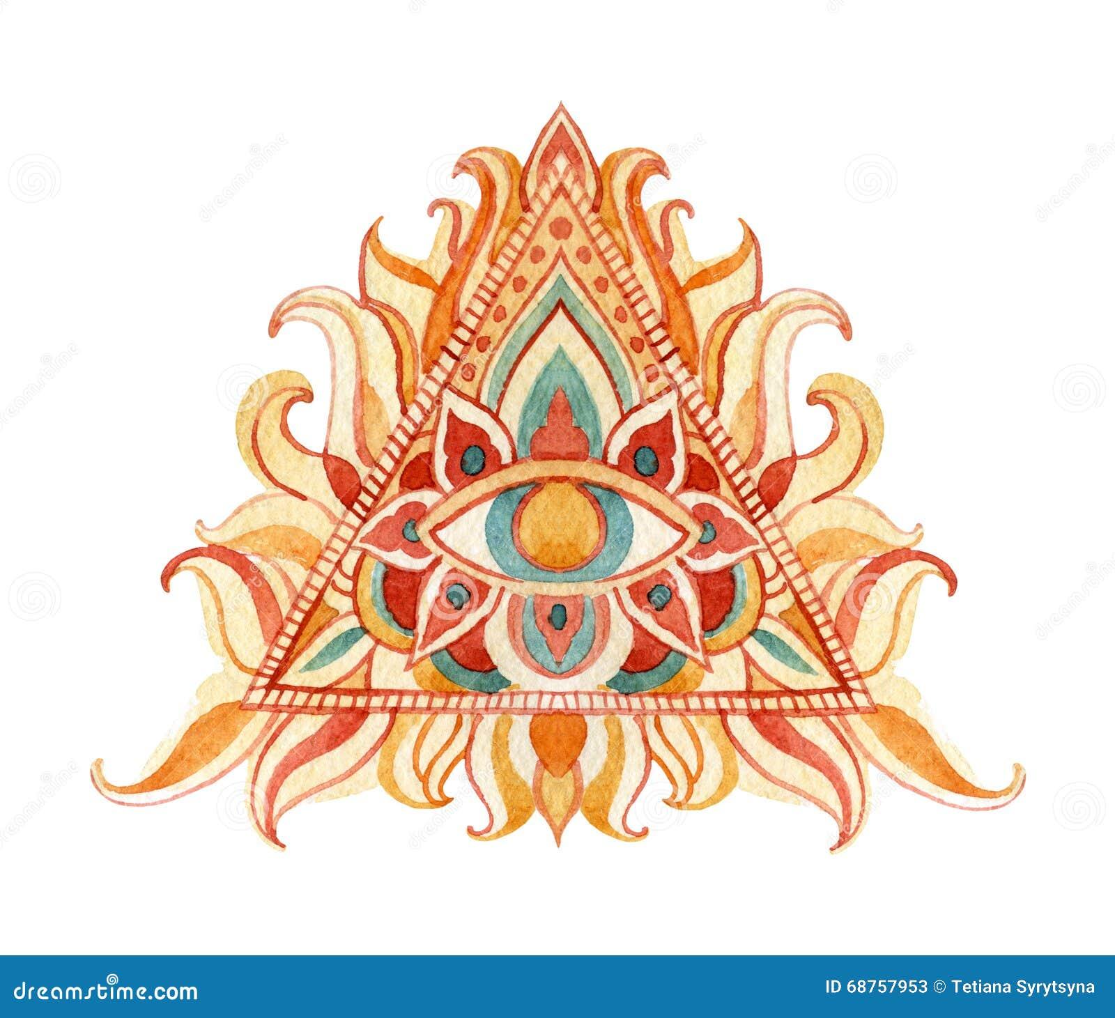 Acuarela todo el símbolo del ojo que ve en pirámide