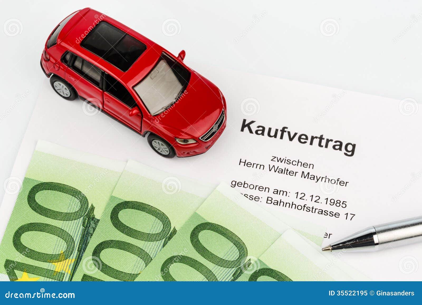 Acuerdo de compra para el coche