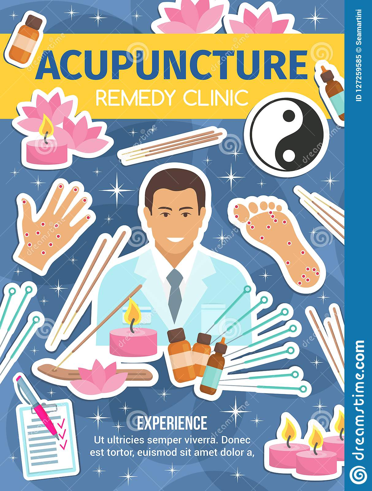 Acupuncture Remedy Clinic, Spa Salon And Doctor Stock Vector