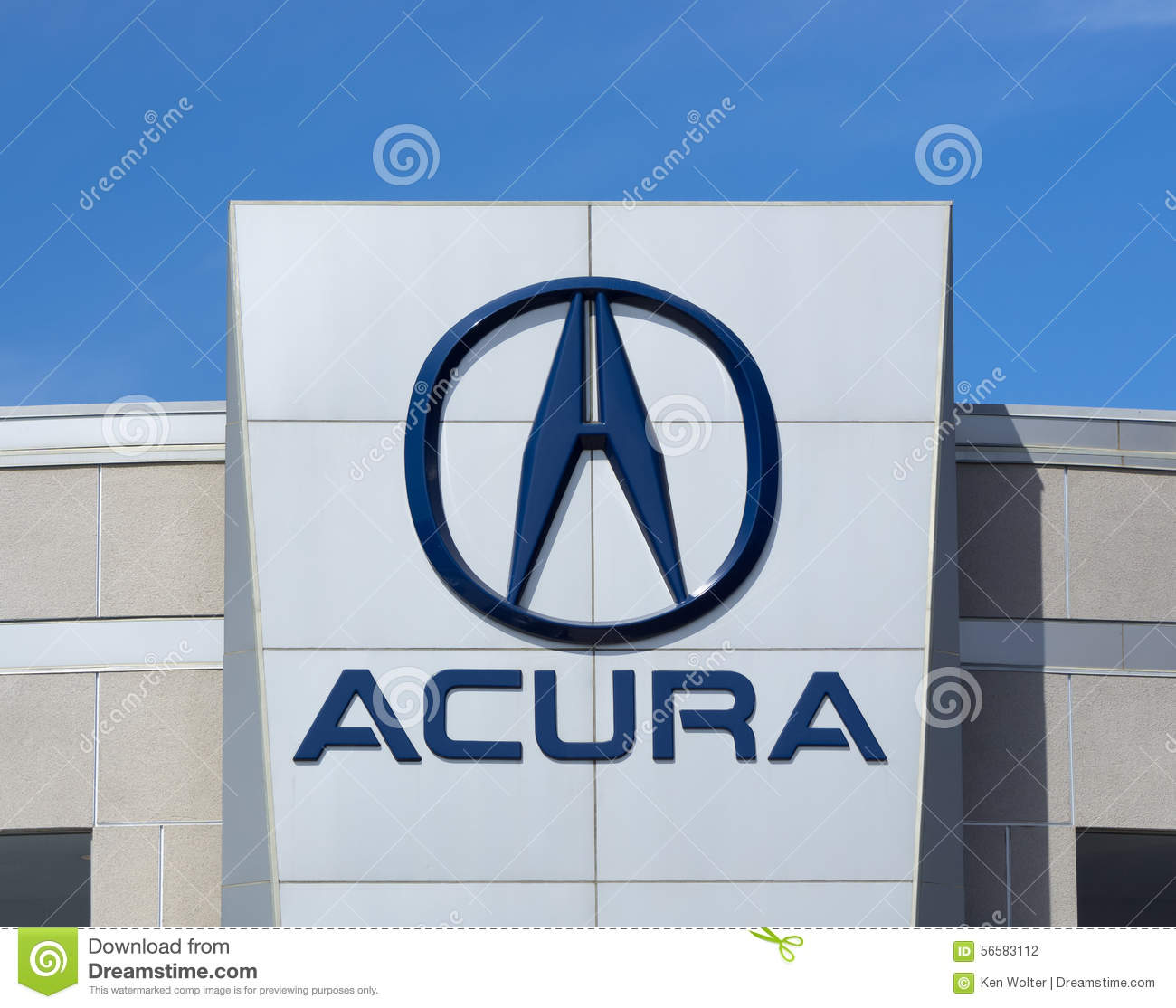 Acura Automobile Dealership Sign And Logo Editorial