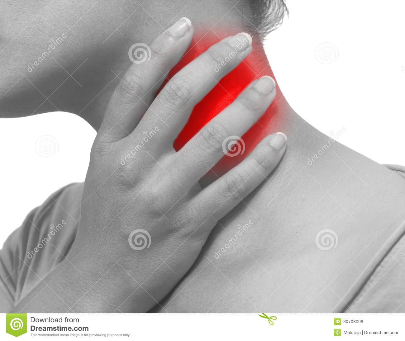 Acute pain in a woman neck
