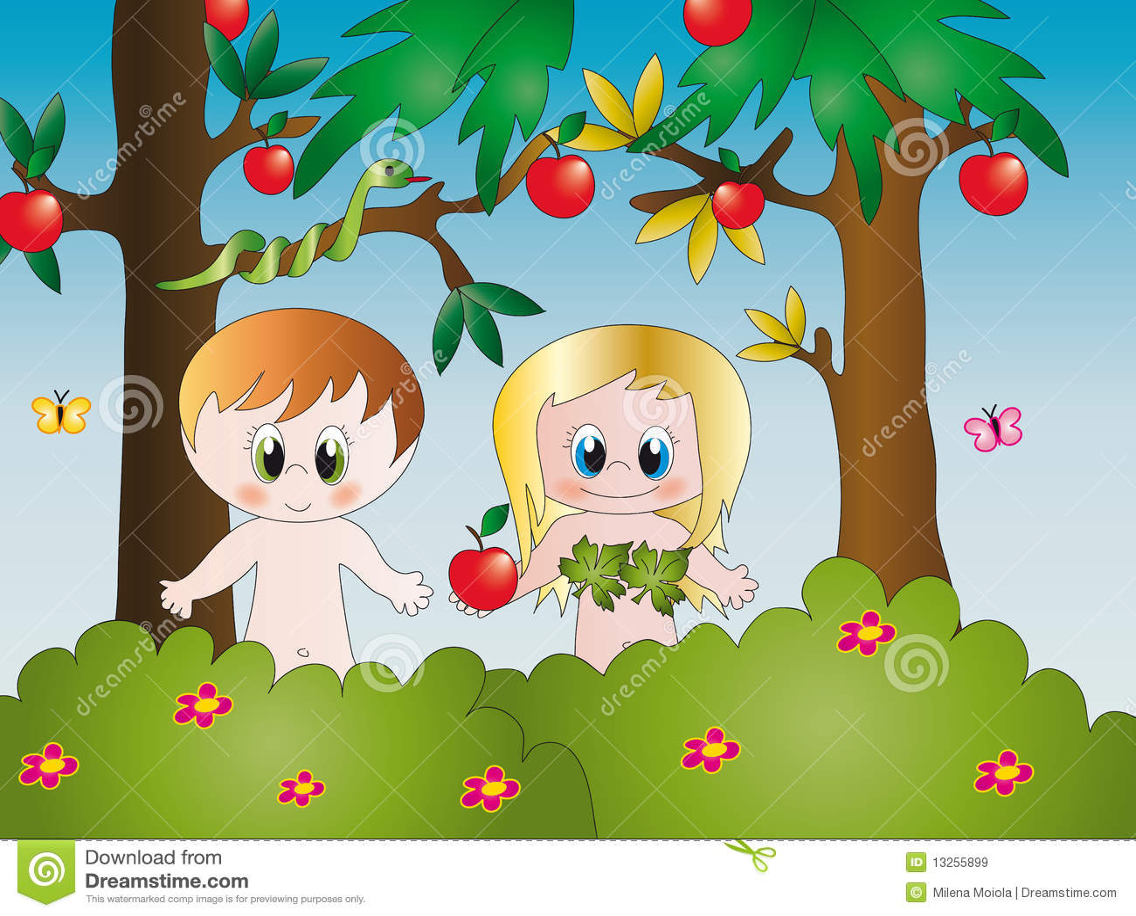 Ilustraci  N De Ad  N Y De Eva En El Jard  N De Eden