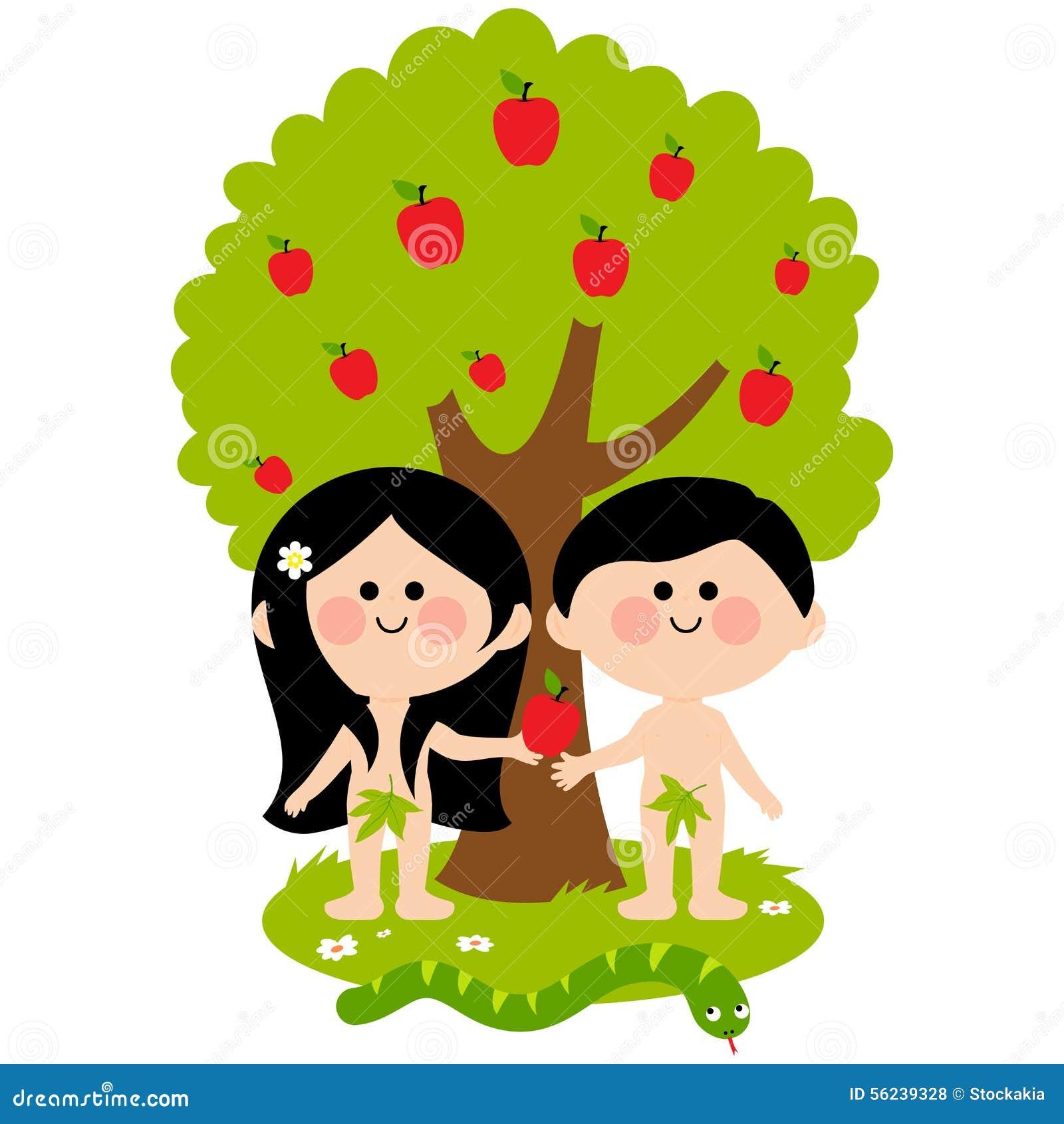 Adán y Eva ilustración del vector. Ilustración de paraíso - 56239328