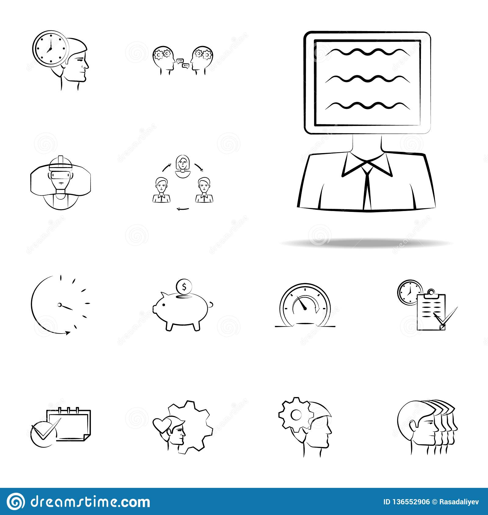 ad, person, tv hand drawn icon. business icons universal set for web and mobile