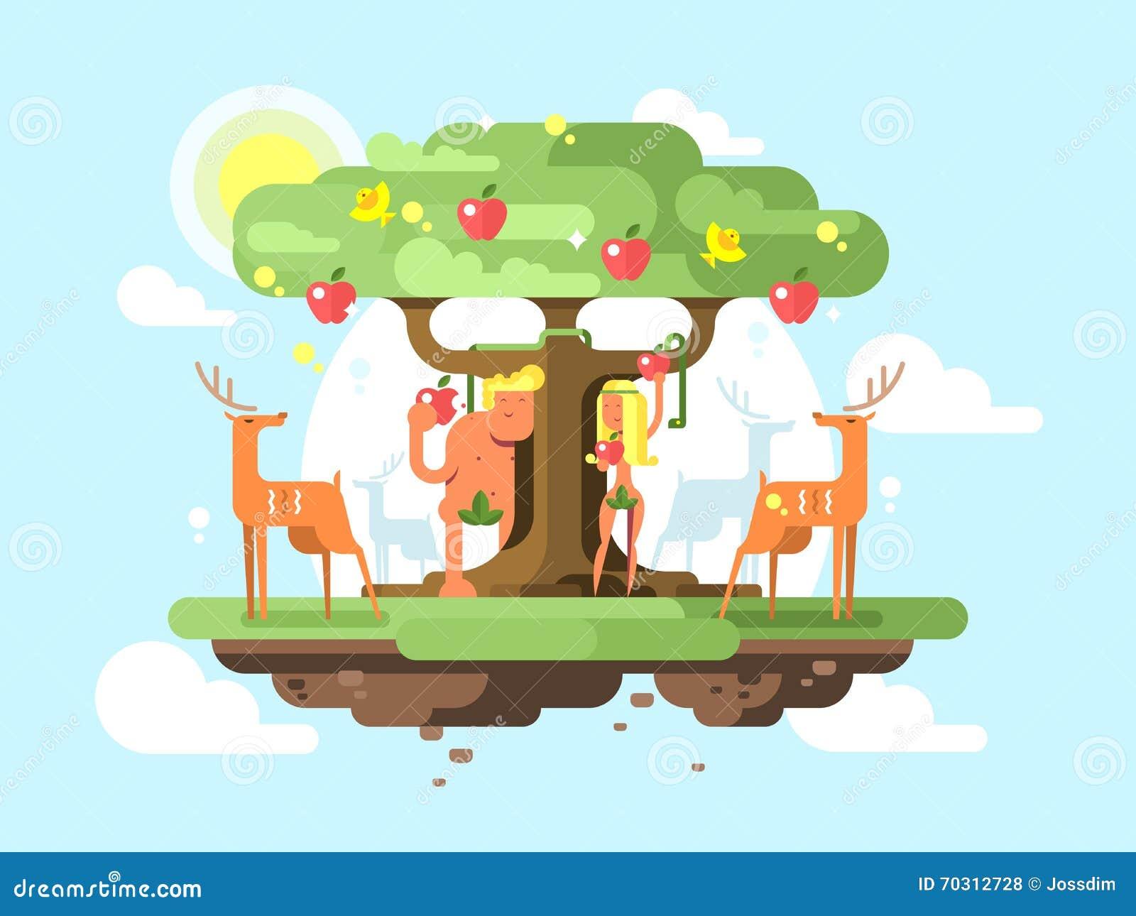 Adam en Vooravond dichtbij een boom