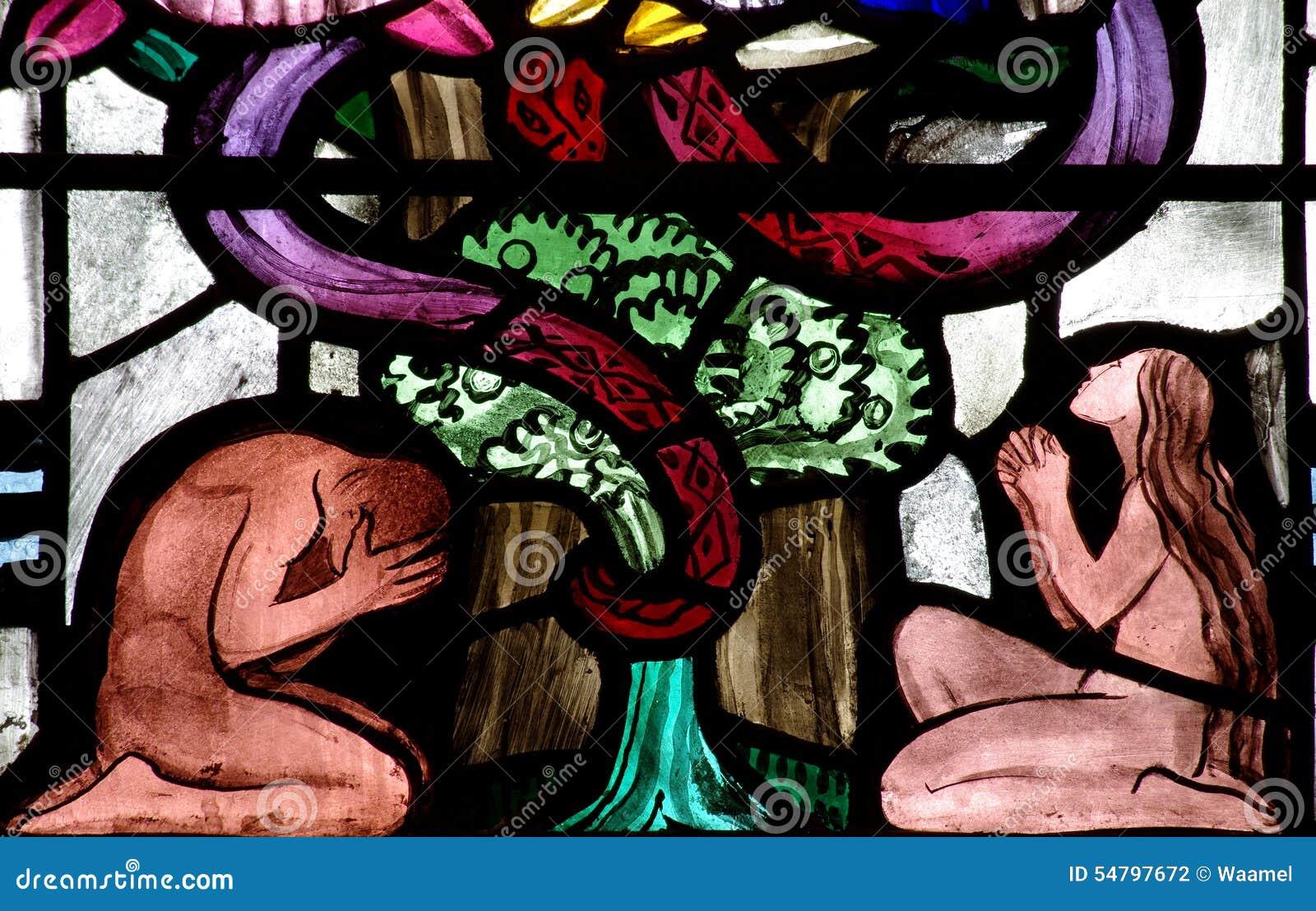 Adam en Vooravond in Paradijs (gebrandschilderd glas)