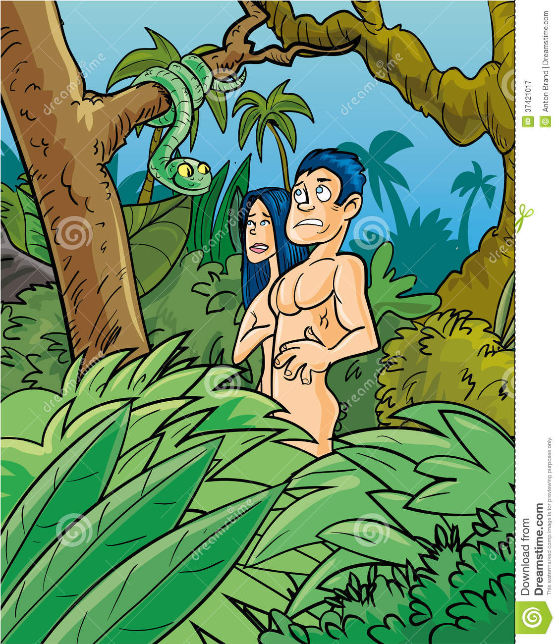 adam and eve being tempted by the snake royalty free stock