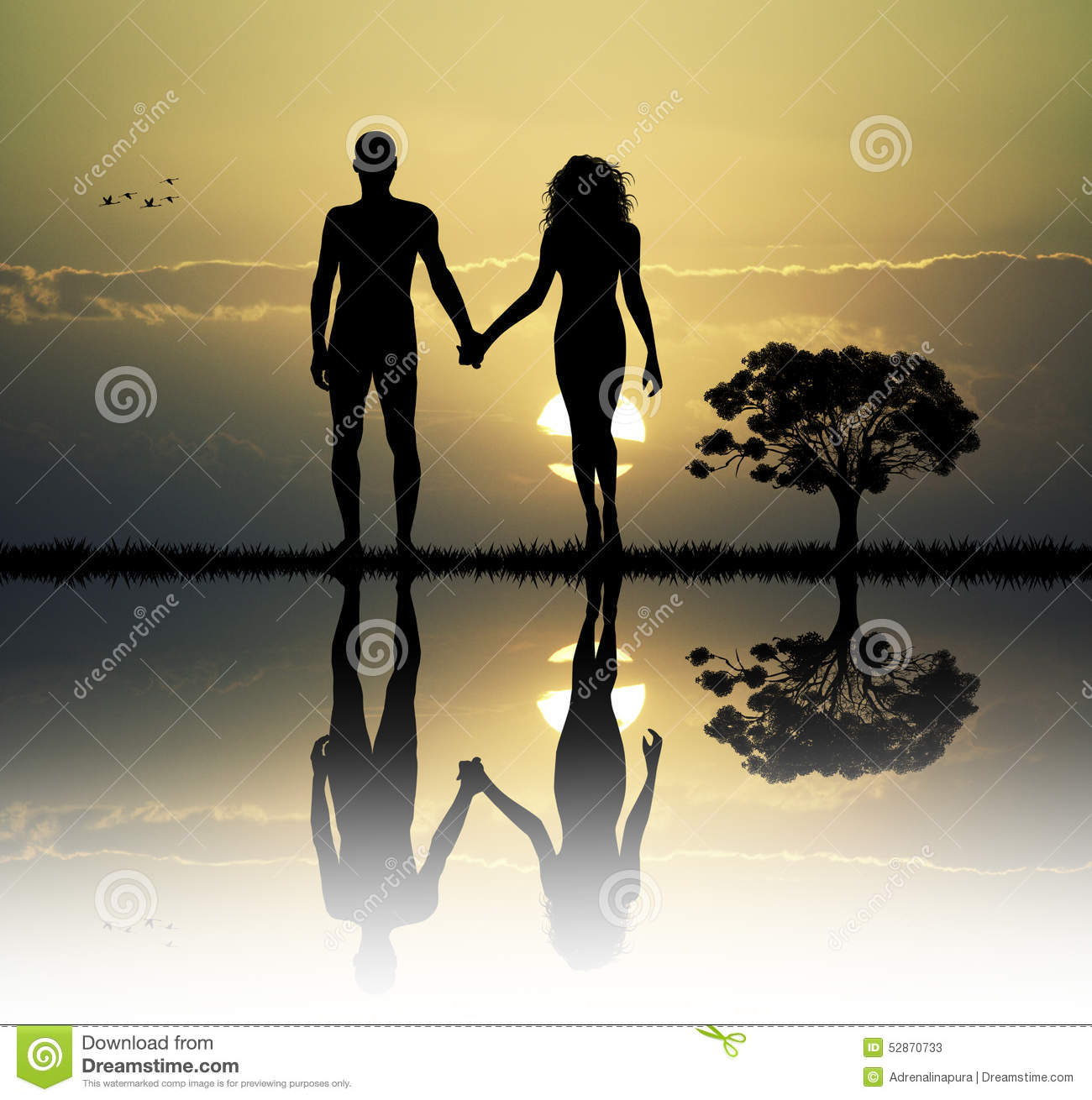 Adam and eve in the eden stock illustration image of for Adan y eva en el jardin