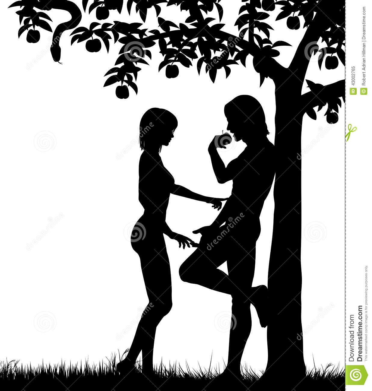 adam and eve stock vector image 43002765