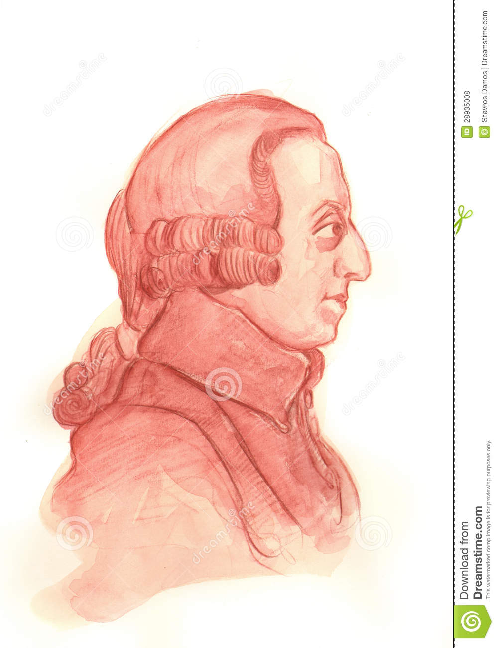 Adam Smith Watercolour-Skizze-Porträt