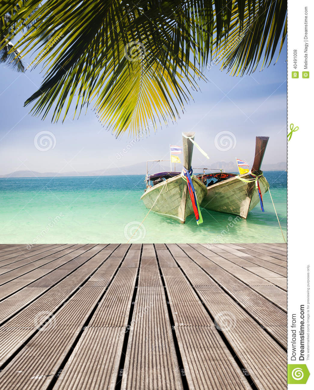 Adaman Sea And Wooden Boat In Thailand Stock Photo - Image ...