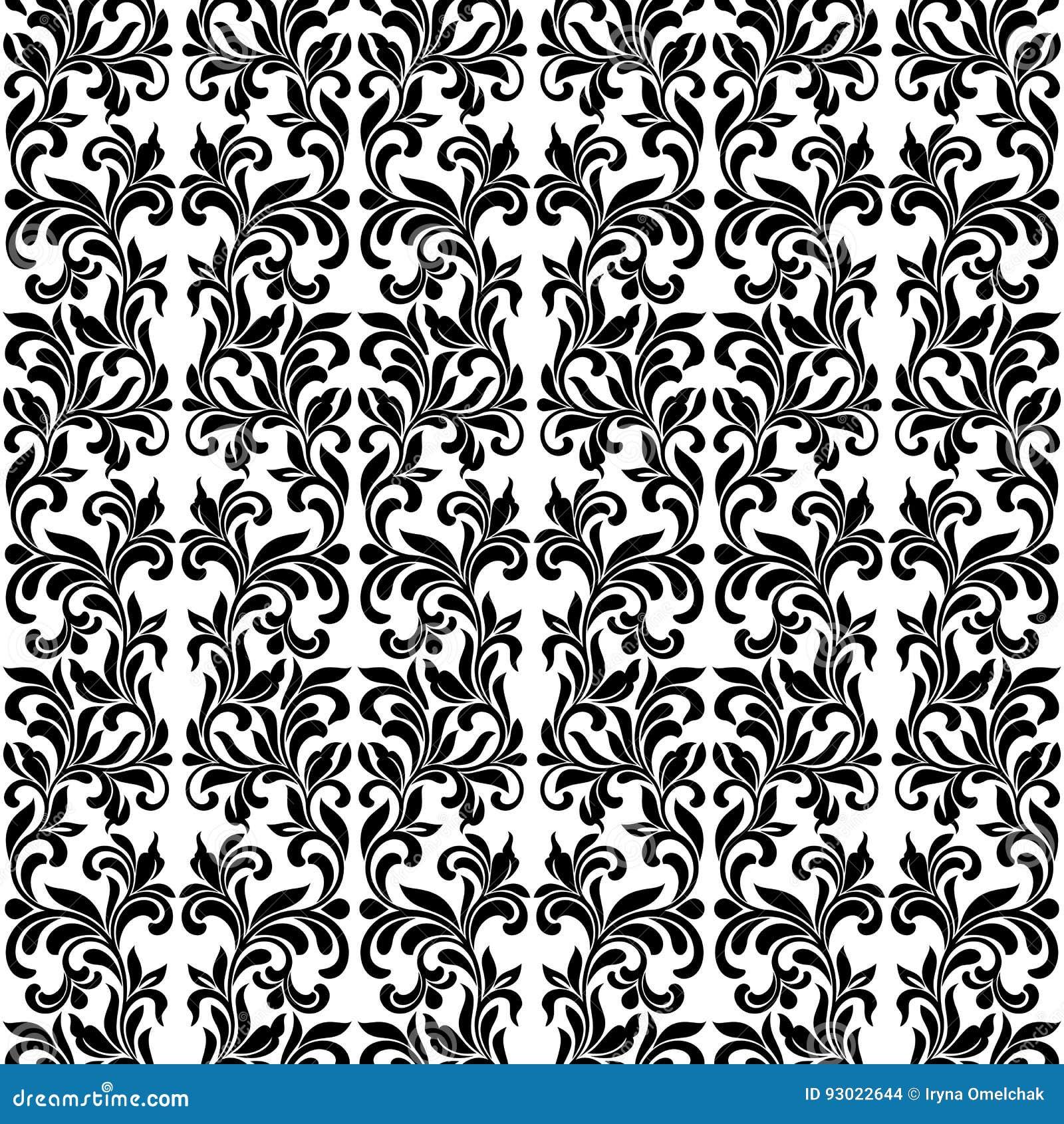 Adamaszkowy Bezszwowy wektoru wzór w Czarny I Biały kolorach Elegan