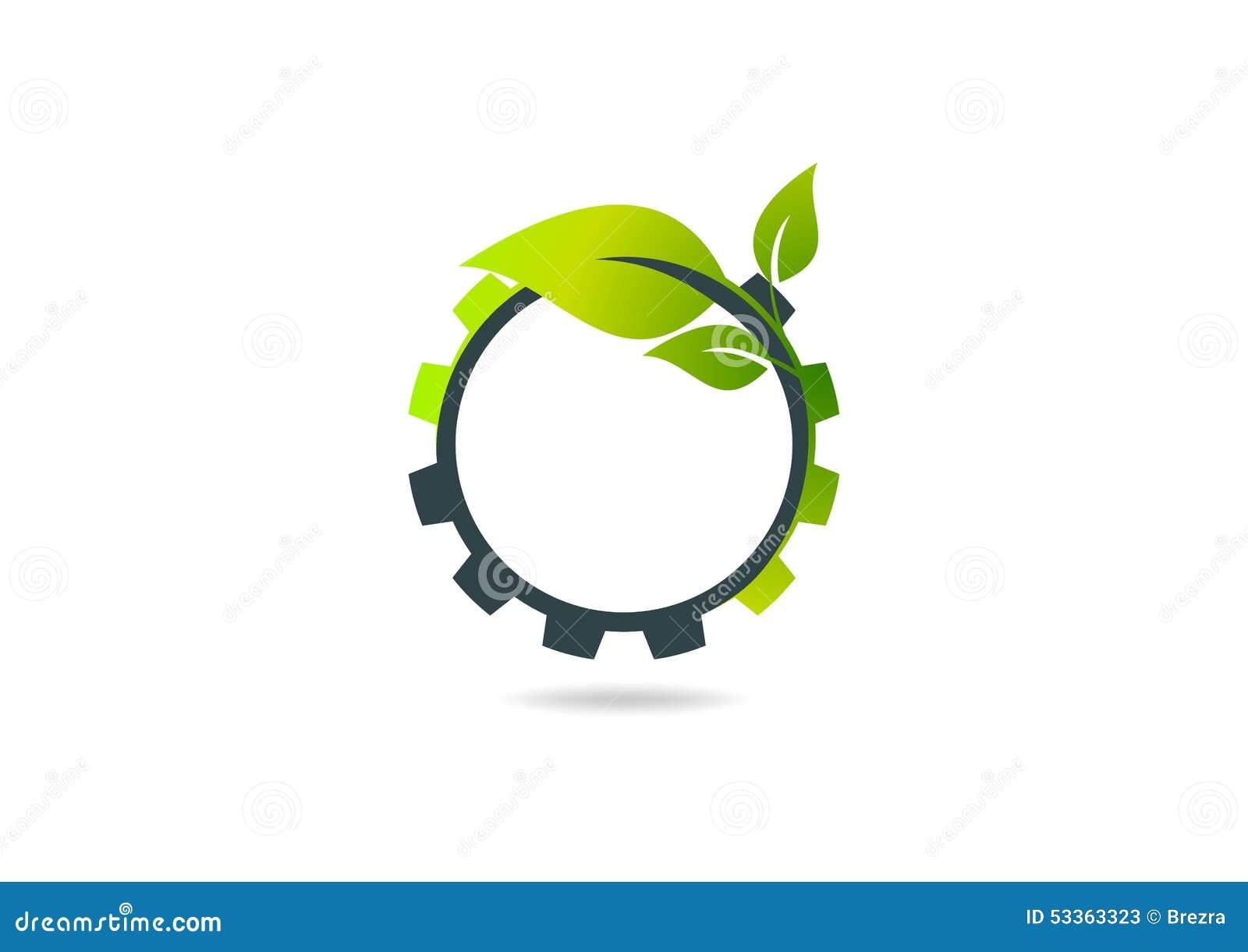 Adapte la hoja, diseño del logotipo del vector del engranaje de la planta