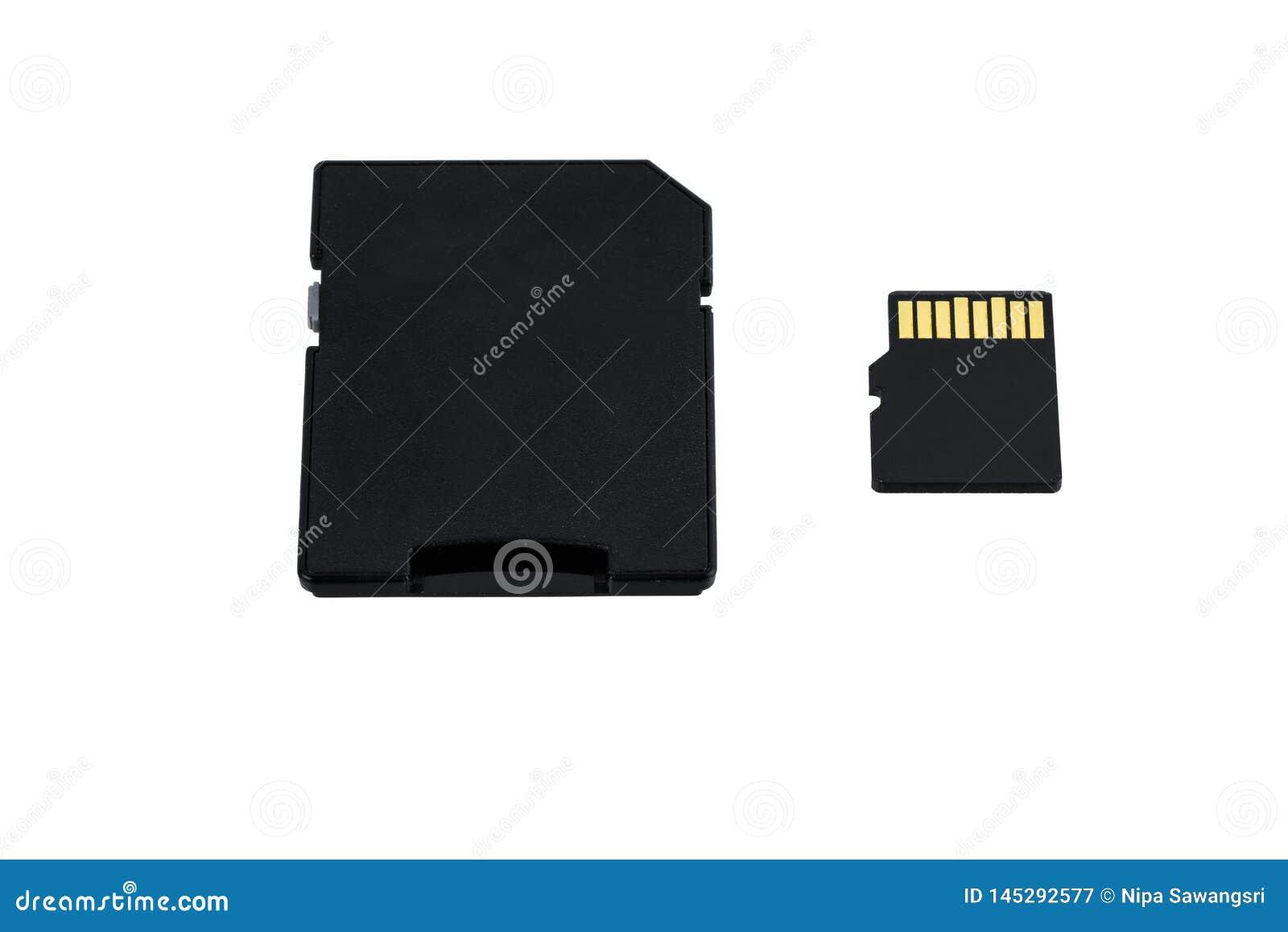 Adapter en MicroSD-Kaart op witte achtergrond wordt geïsoleerd die
