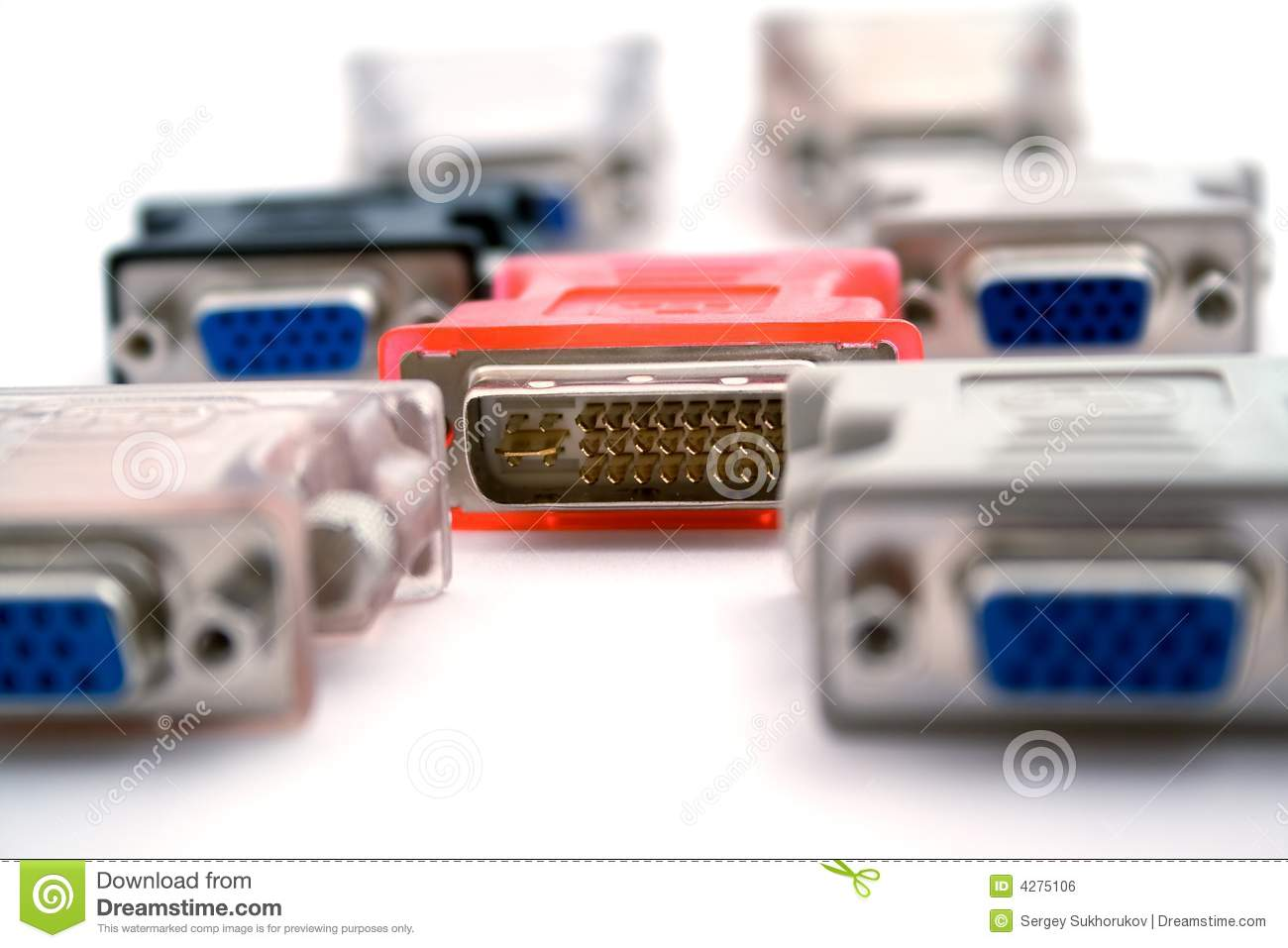 Adapters vga-dvi on a white background