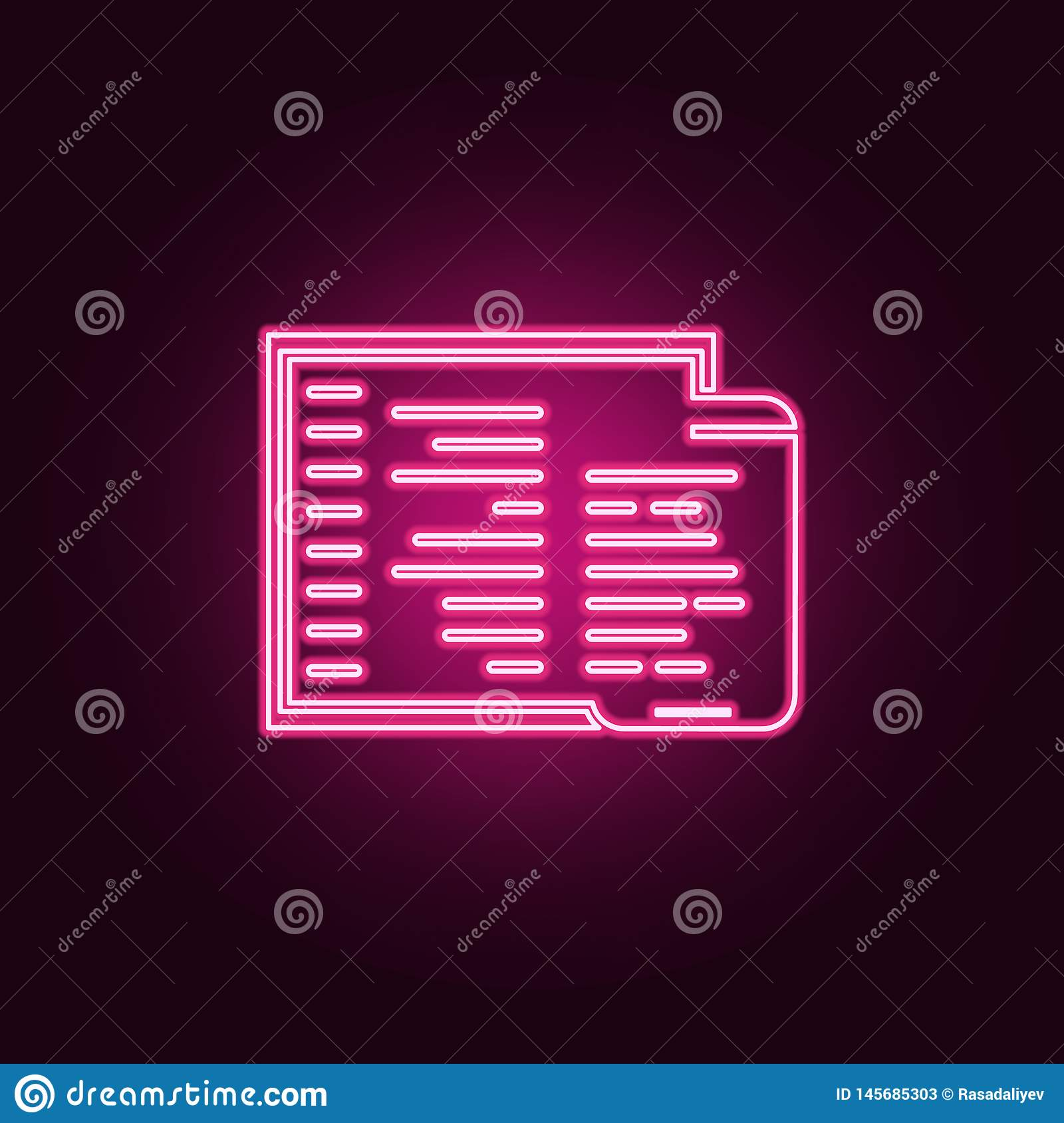 adaptive coding icon. Elements of Web Development in neon style icons. Simple icon for websites, web design, mobile app, info