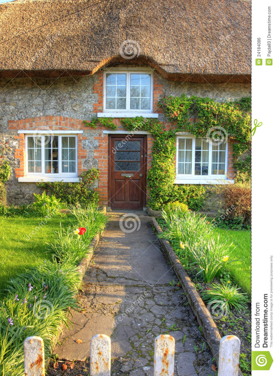 Adare Village Irish Traditional Cottage House Stock