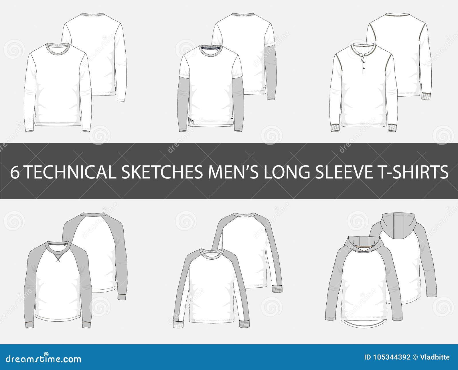 Adatti gli schizzi tecnici delle magliette lunghe della manica del ` s degli uomini