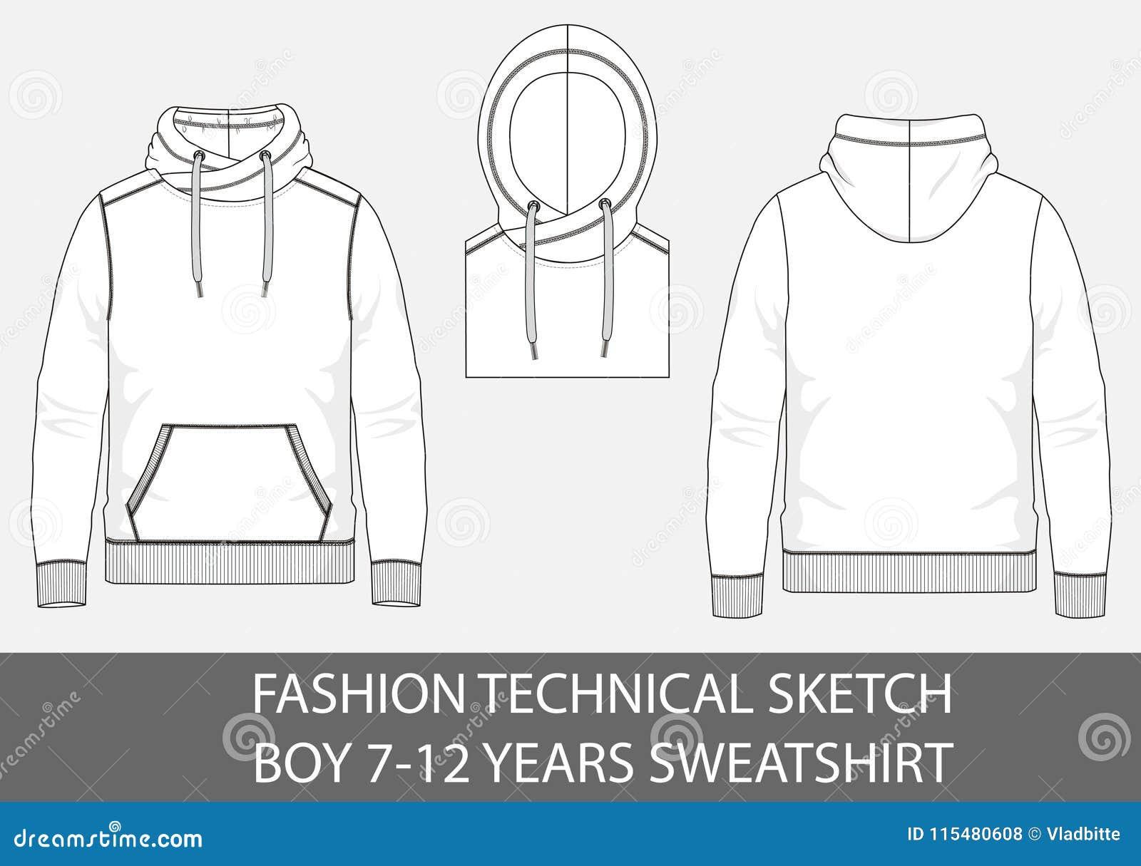 Adatti a ragazzo tecnico di schizzo 7-12 anni di maglietta felpata con il cappuccio