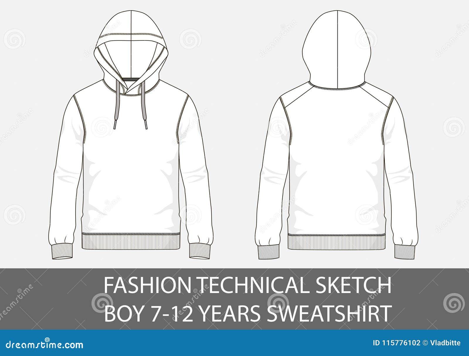 Adatti a schizzo tecnico per il ragazzo 7-12 anni di maglietta felpata con il cappuccio