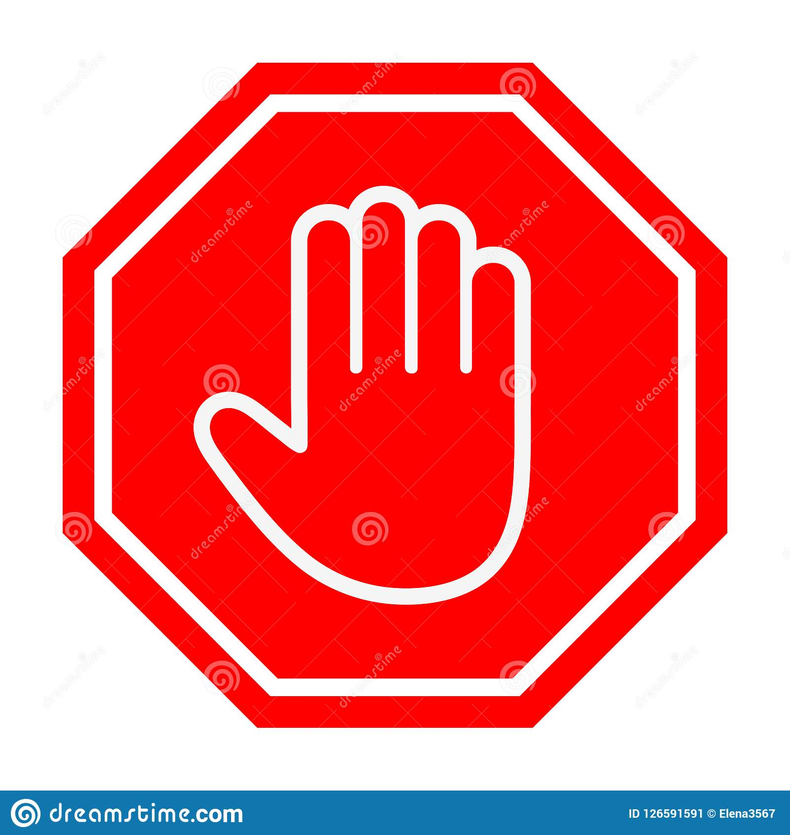 Adblock Or Red Stop Sign Icon With Hand Stock Vector