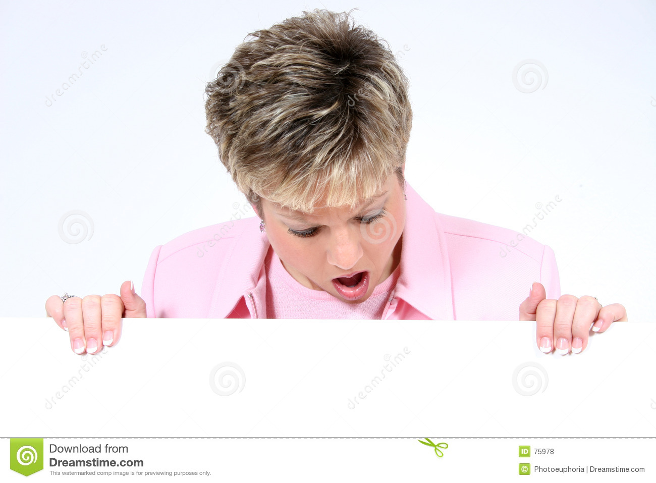 Add holding sign text white woman