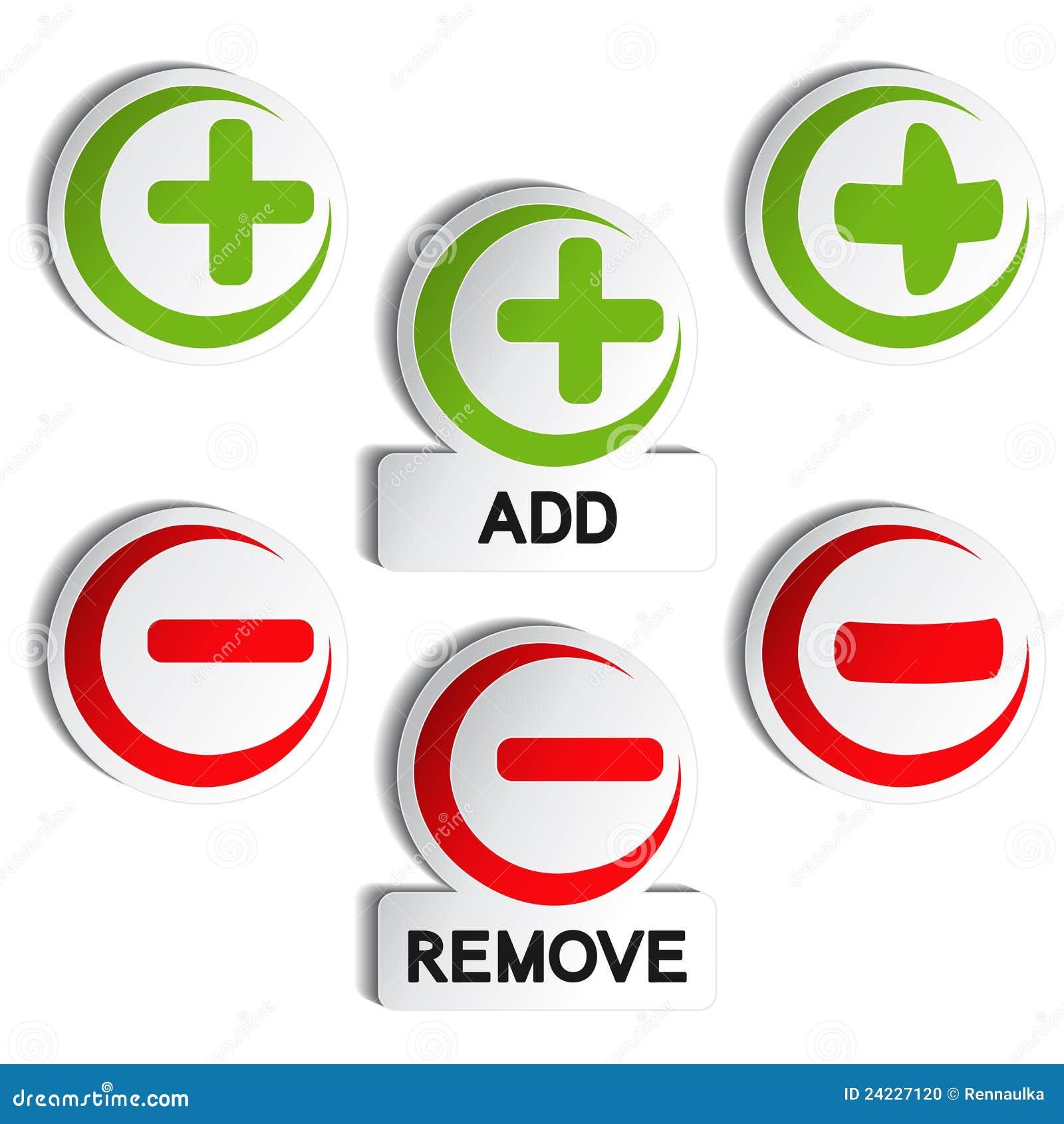 add remove item plus minus stock photo image 24227120. Black Bedroom Furniture Sets. Home Design Ideas