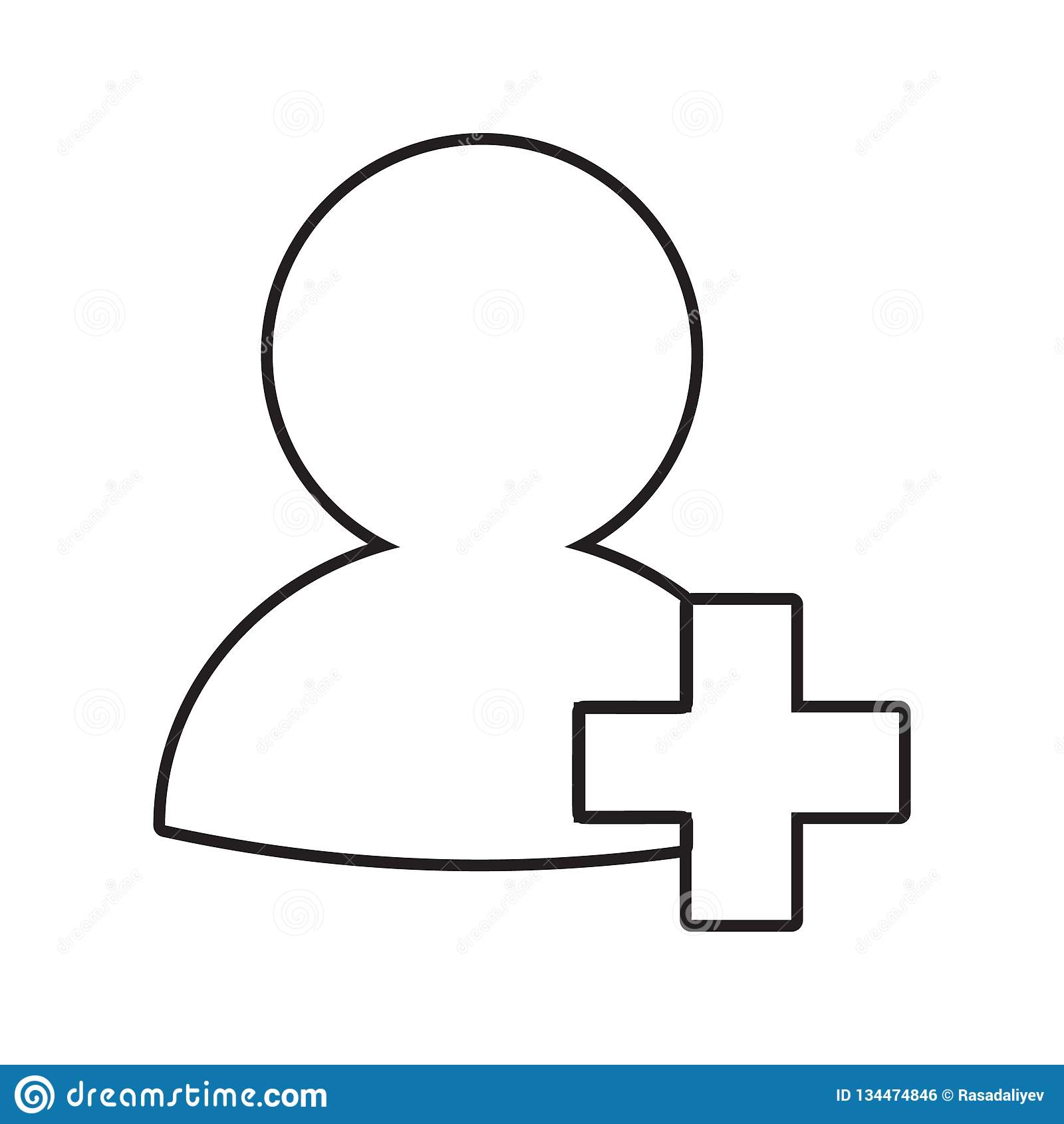 Add to friends icon. Element of Conversation and Friendship for mobile concept and web apps icon. Thin line icon for website. Design and development, app vector illustration