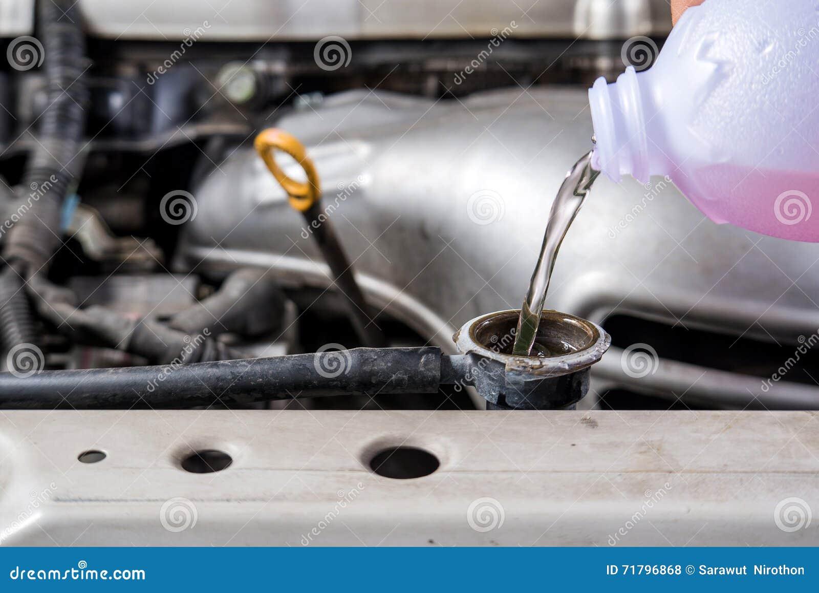 Add Water Car Radiator Check Water Car Radiator Stock Photo