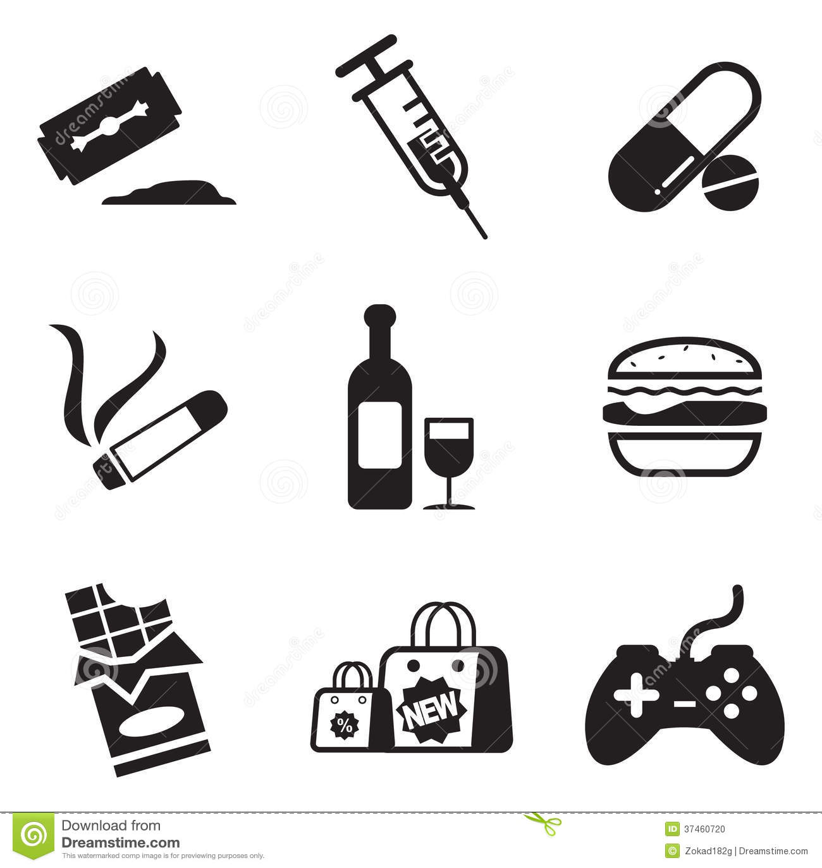 Addiction Icons Stock Photo Image 37460720
