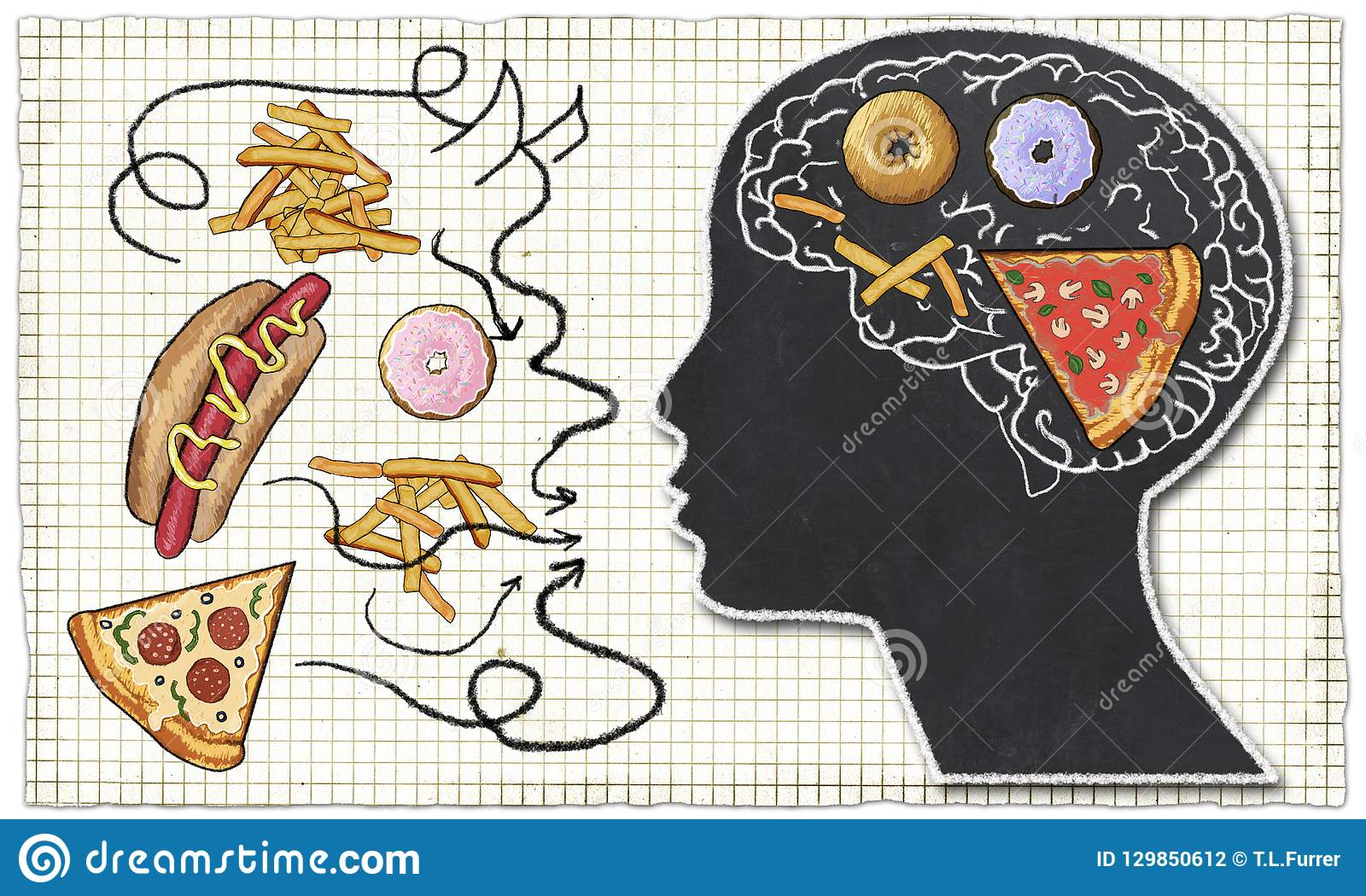Addiction illustrated with Fast Food and Brain