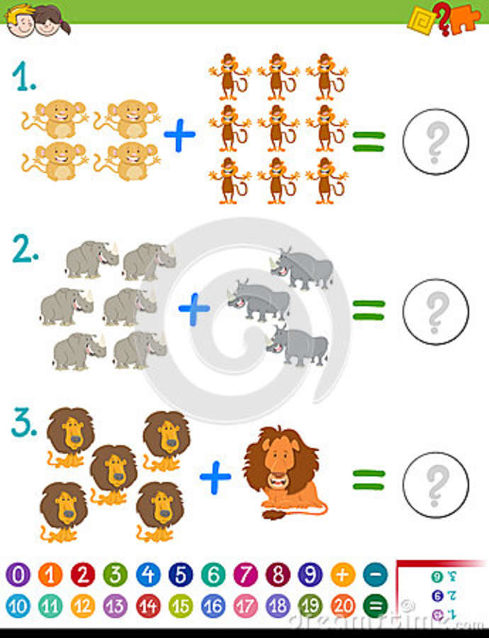 Addition Maths Activity For Kids Stock Vector - Illustration of ...