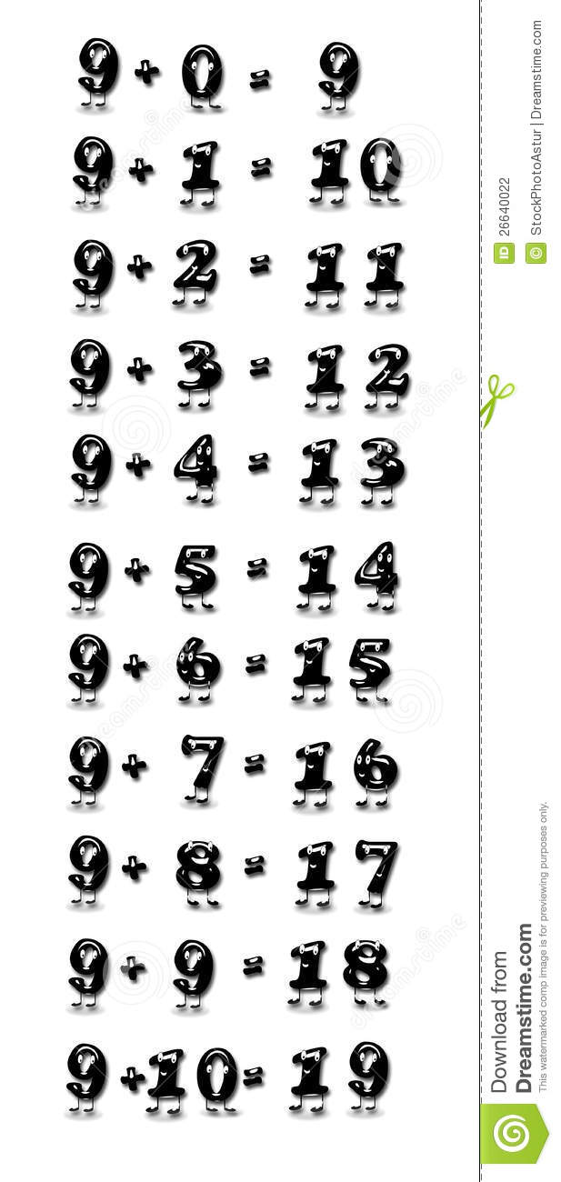 worksheet Addition Table addition table nine stock illustration image of cartoon 26640022 royalty free photo download table