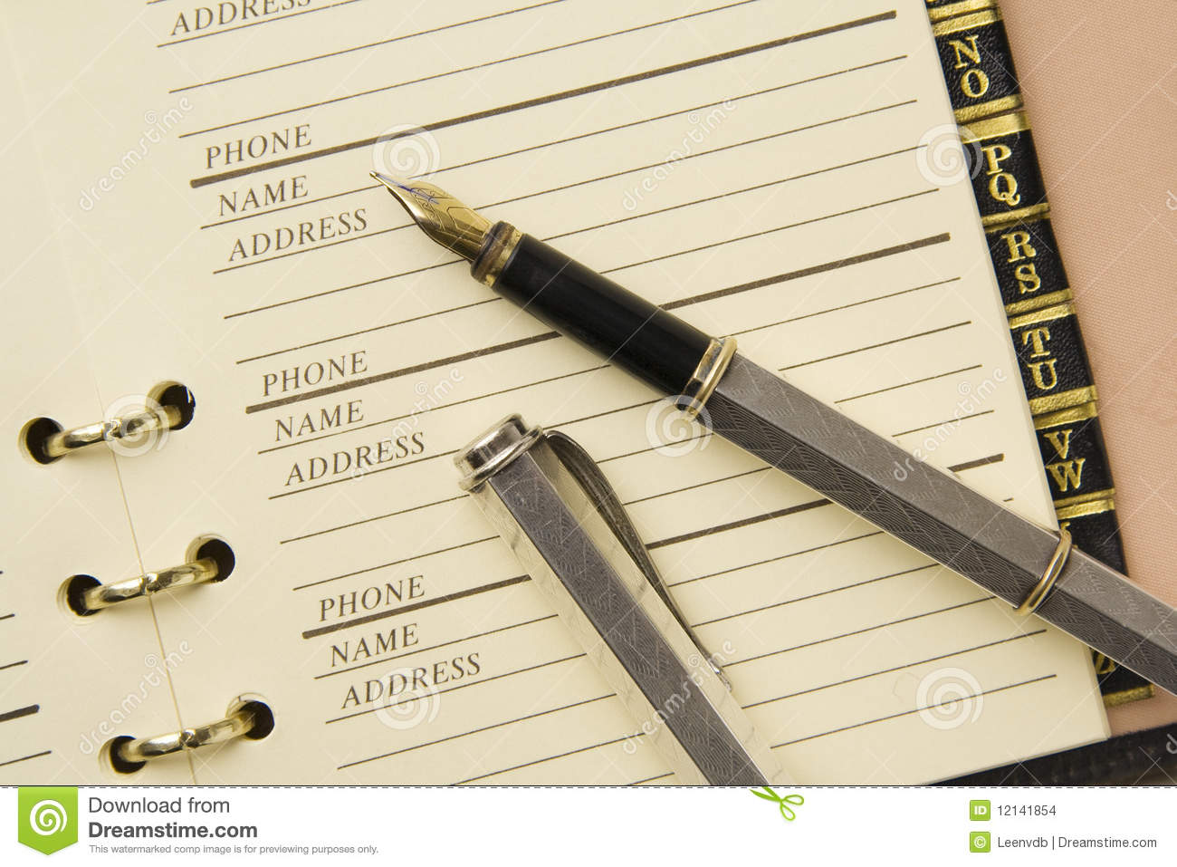 address book and fountain pen stock photo image of document note