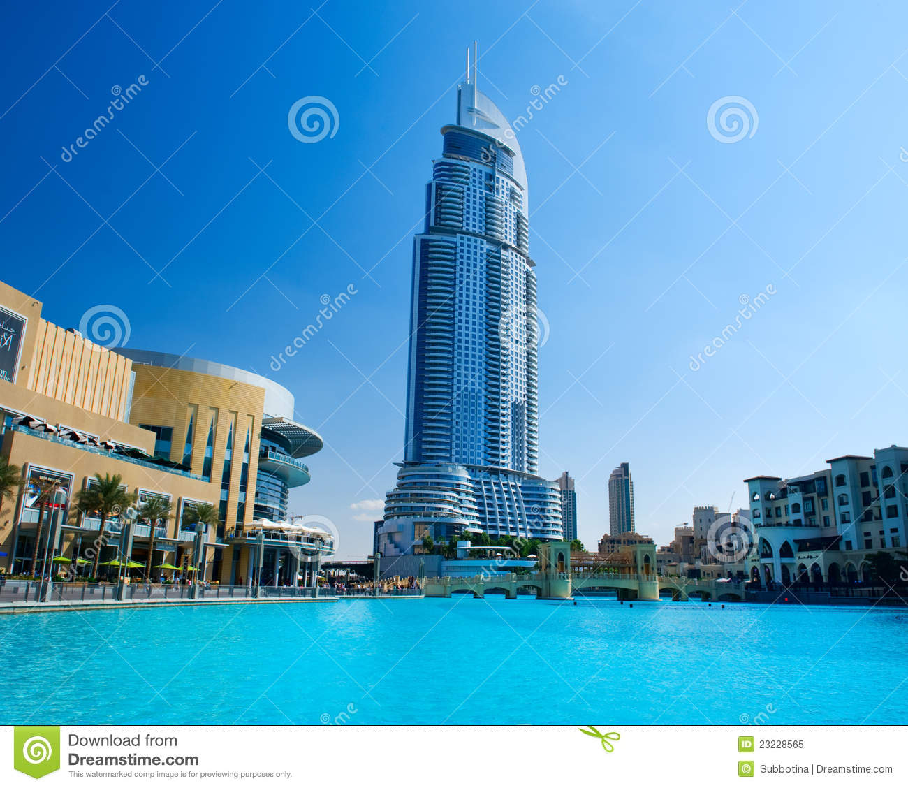 Address hotel and lake burj khalifa stock image image of for Dubai hotels near burj khalifa