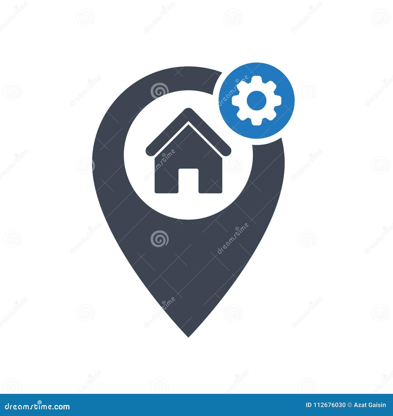 Address icon with settings sign. Address icon and customize, setup, manage, process symbol