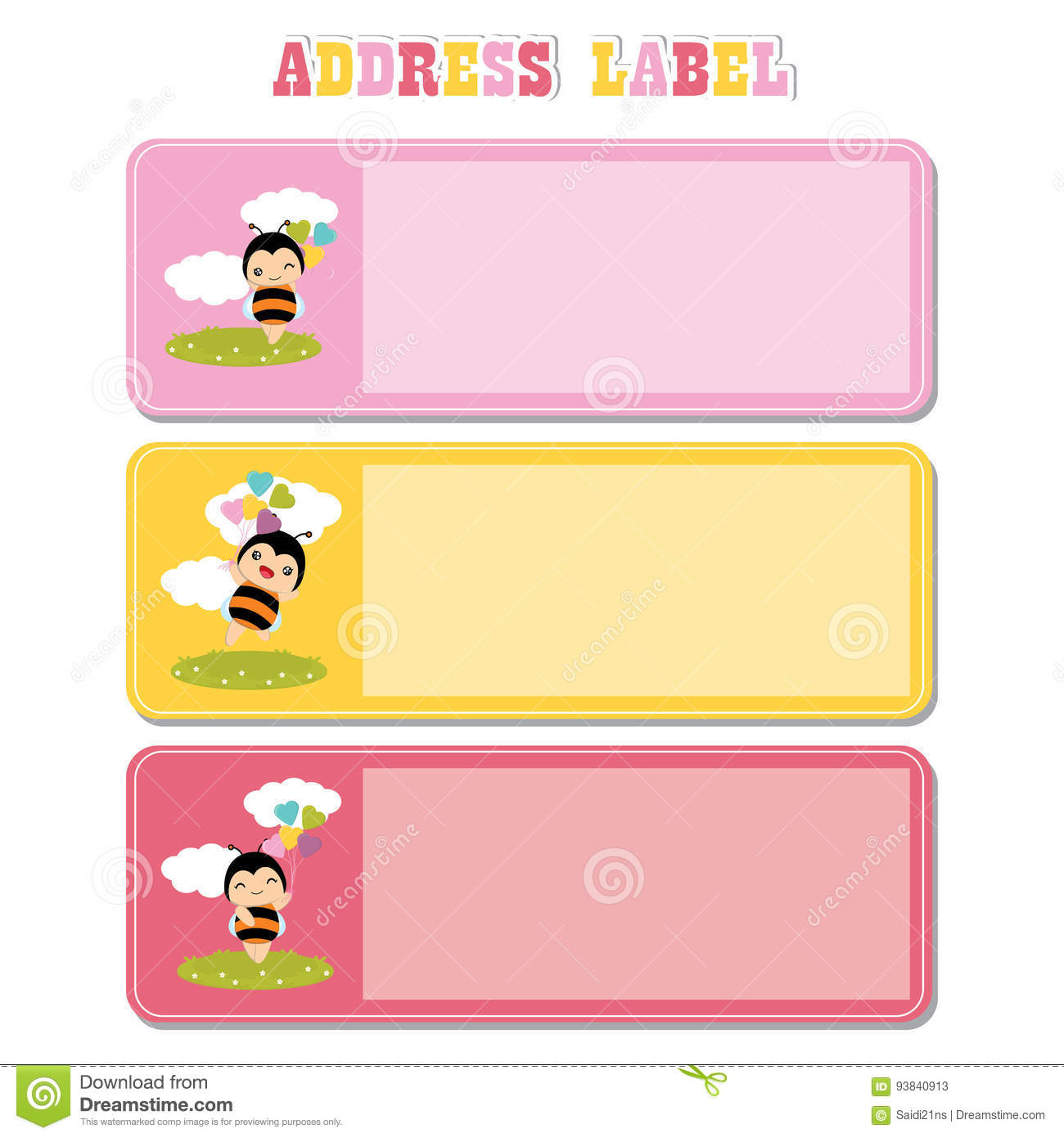 Address Label with cute bee on the grass suitable for kid address label
