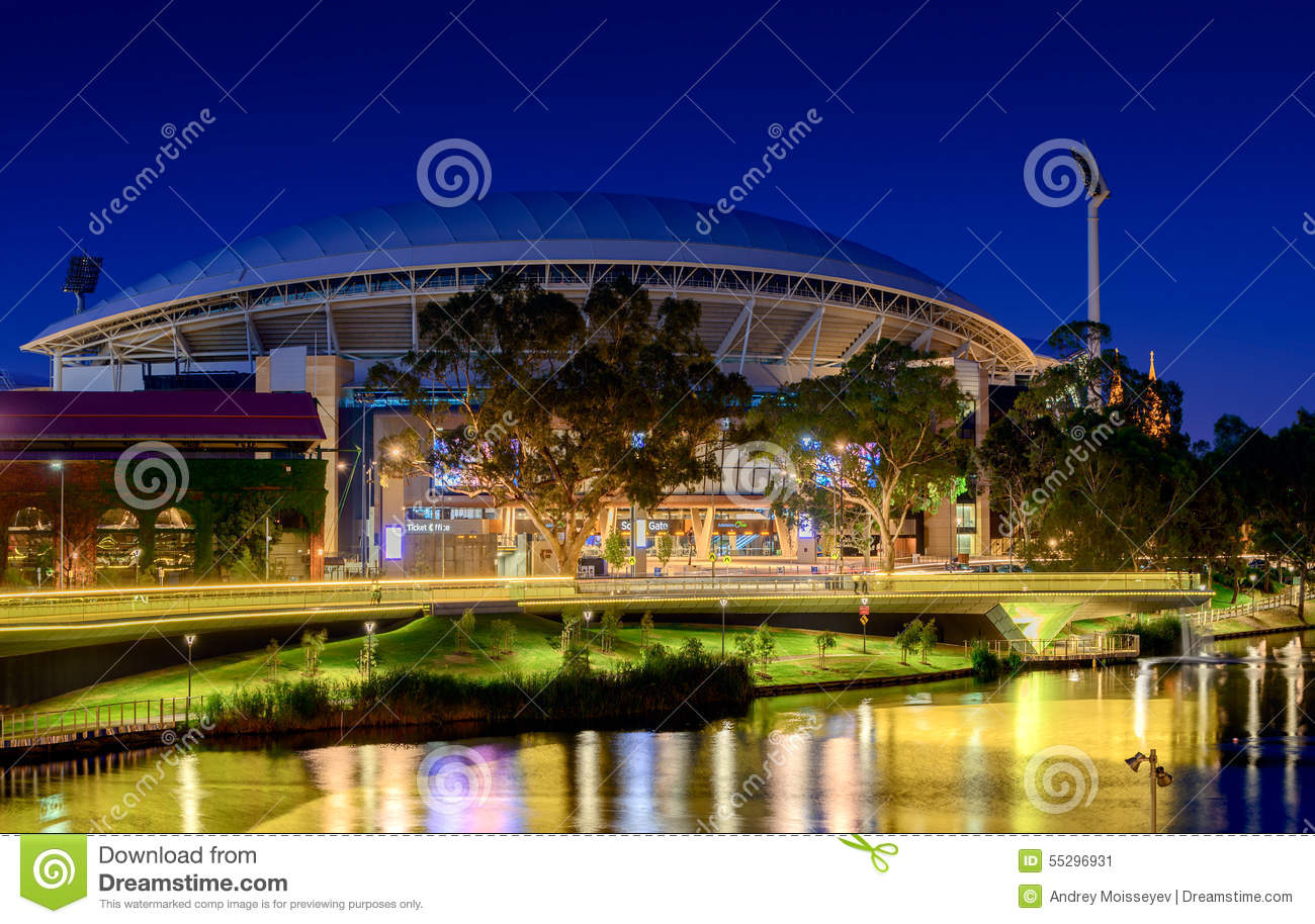 Adelaide oval and river torrens foot bridge at night long for 2 torrens terrace