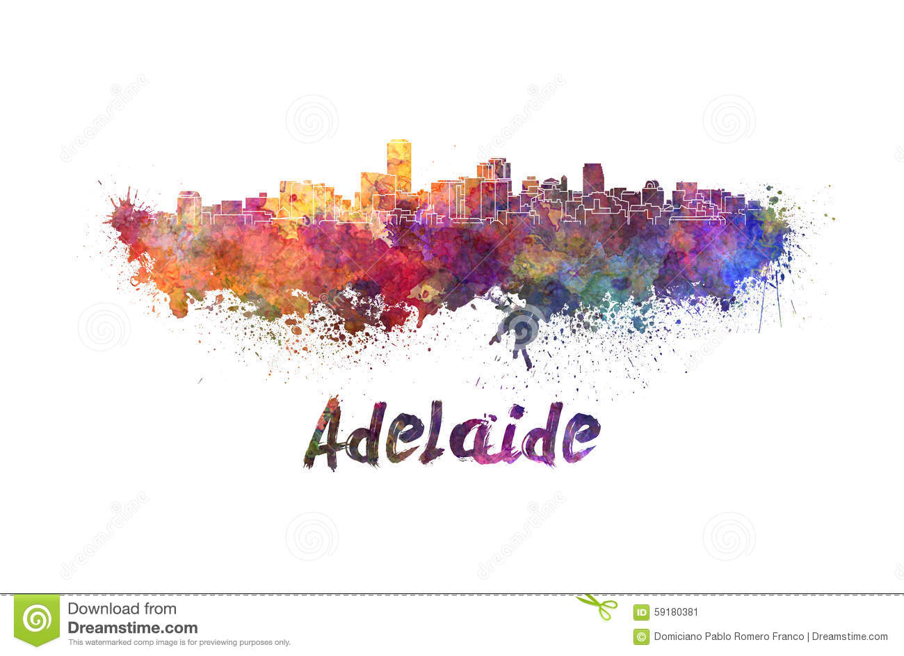 adelaide skyline in watercolor stock illustration