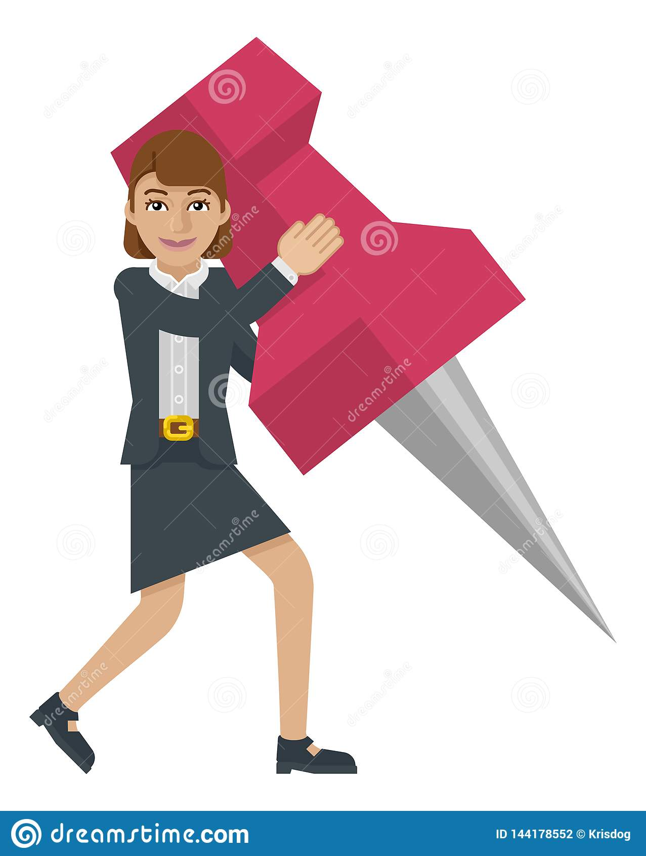 Aderência de polegar Pin Mascot da terra arrendada da mulher de negócio