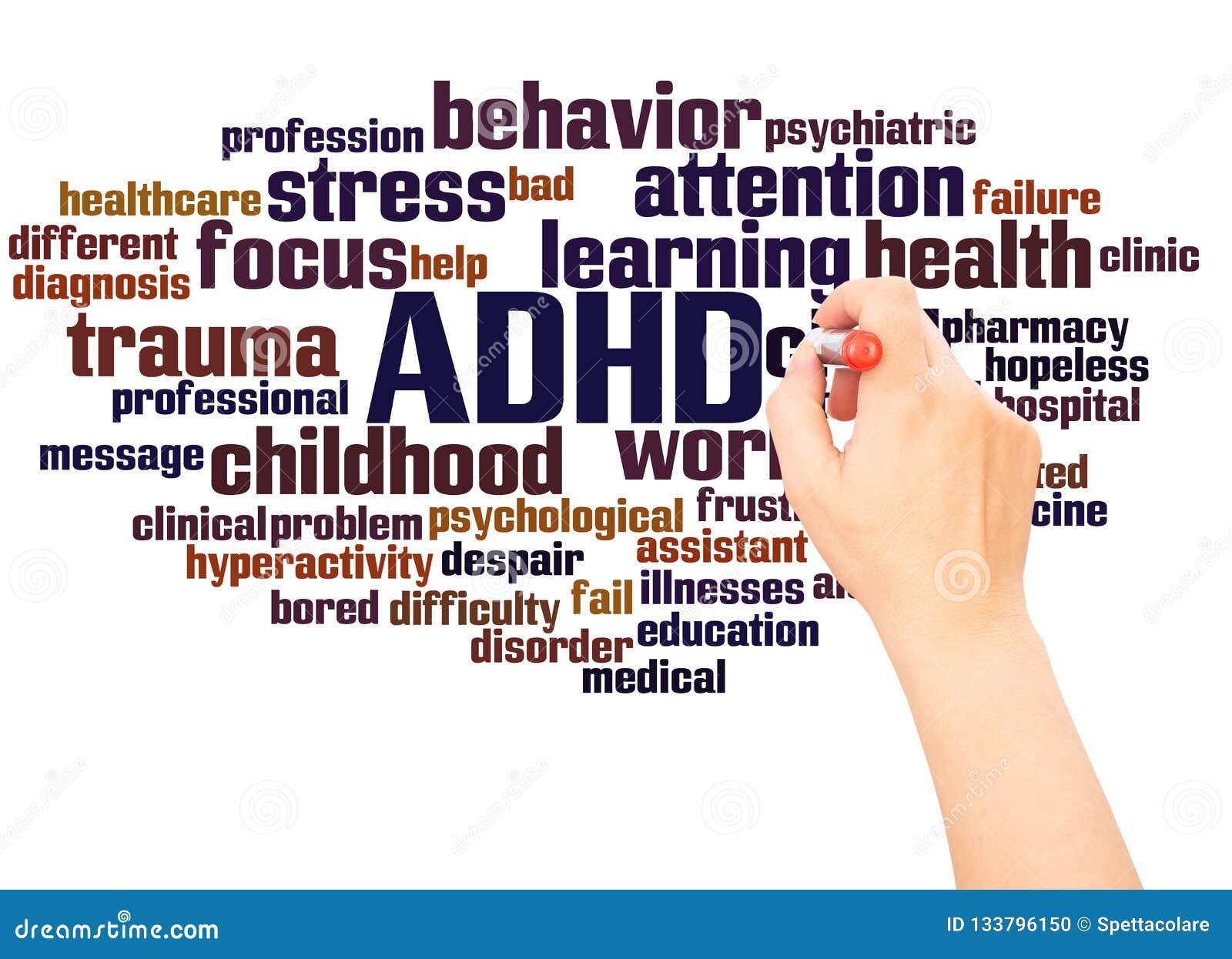 ADHD słowa chmury ręka pisze pojęciu