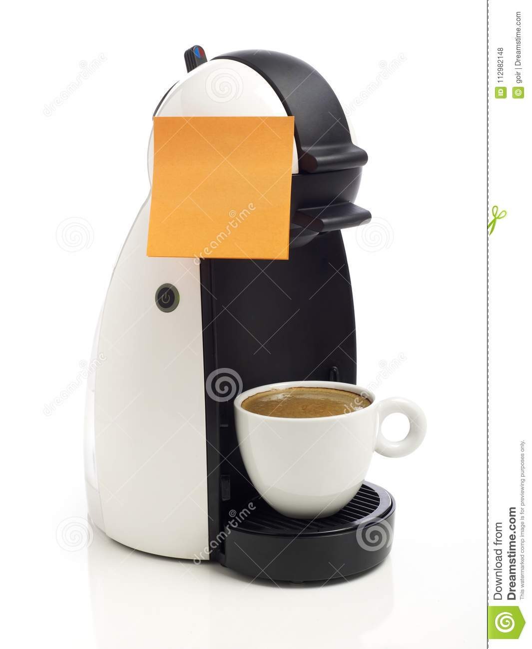 Adhesive note on coffee maker